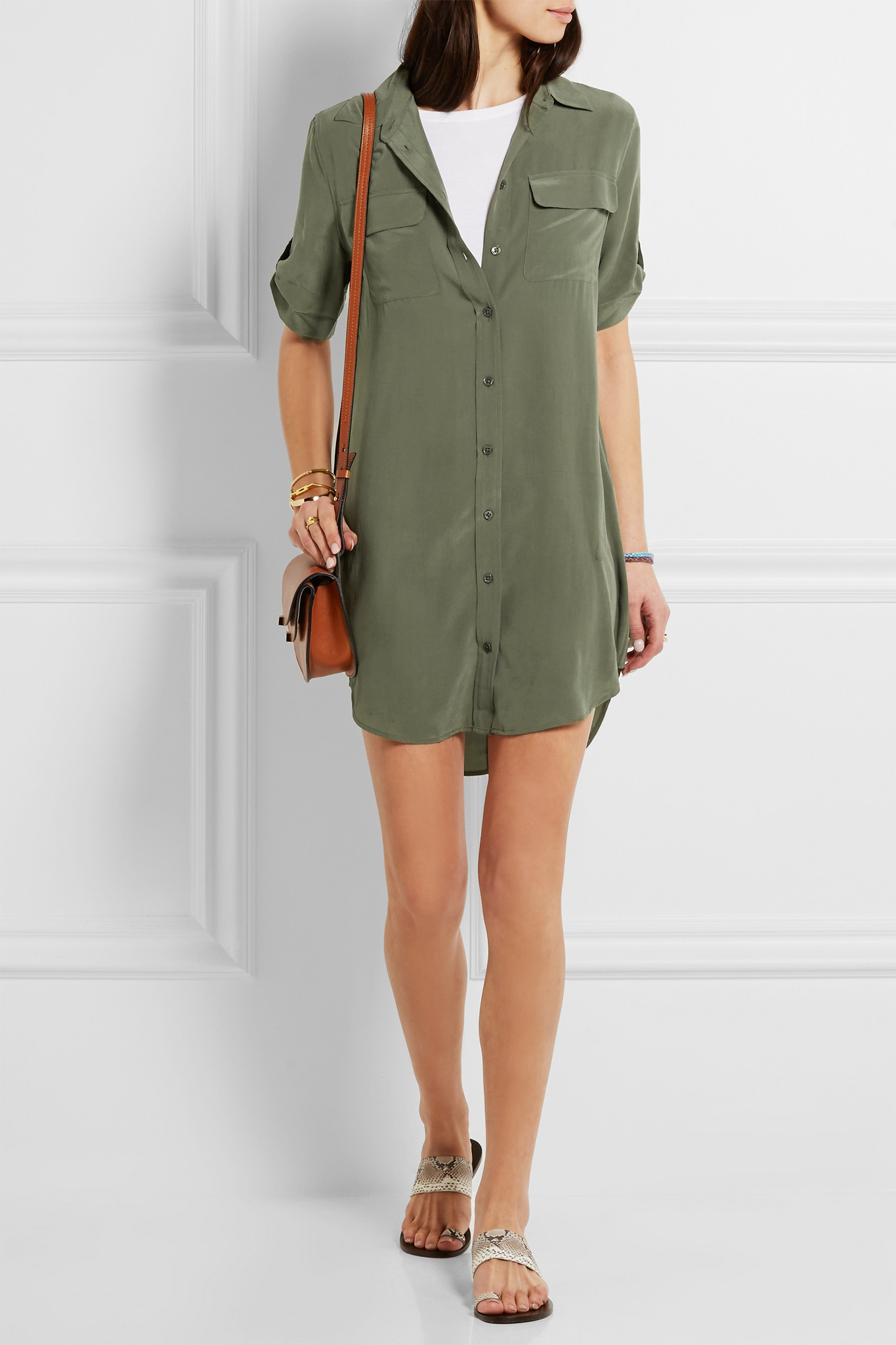 Lyst Equipment Signature Washed Silk Shirt Dress In Green