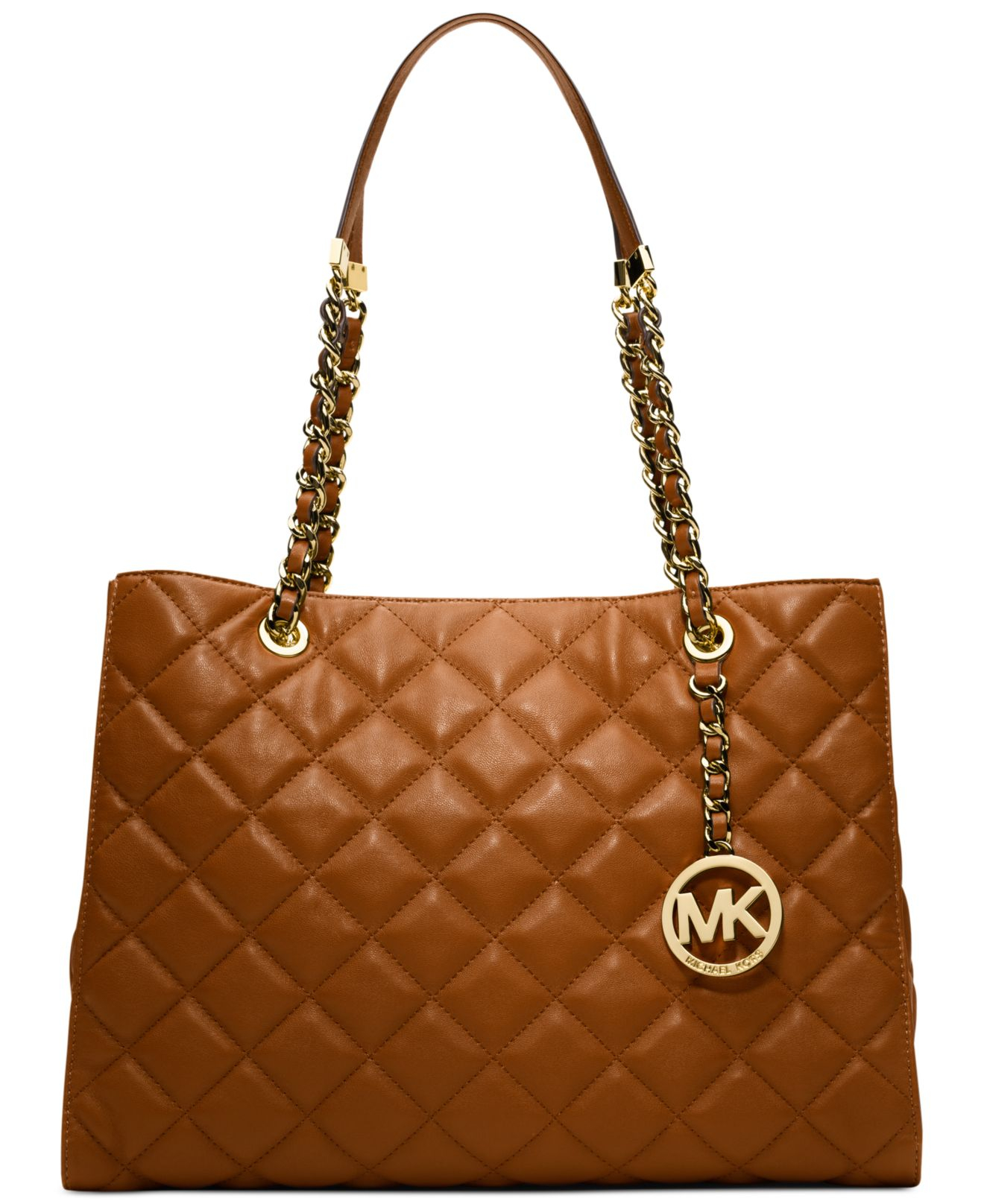 michael kors michael susannah large tote in brown lyst. Black Bedroom Furniture Sets. Home Design Ideas