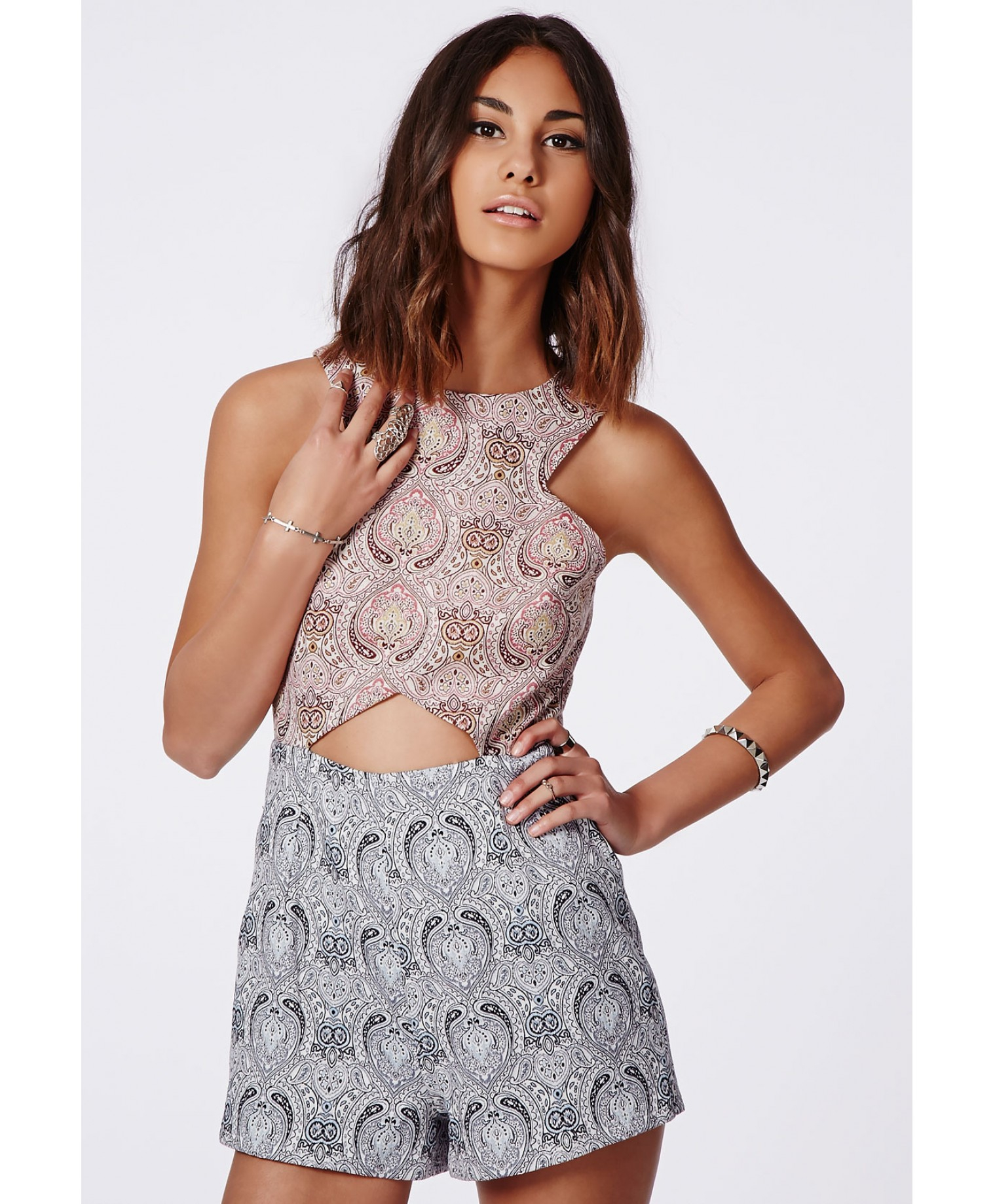 04cc4107d3 Missguided Abigail Contrast Paisley Cut Out Detail Romper in Pink - Lyst