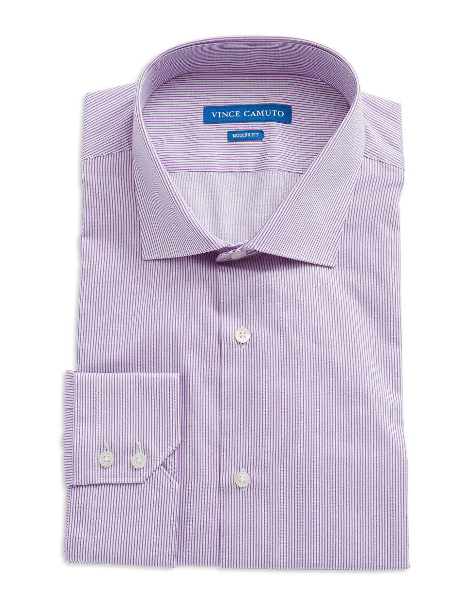 Vince camuto modern fit striped dress shirt in purple for for Modern fit dress shirt