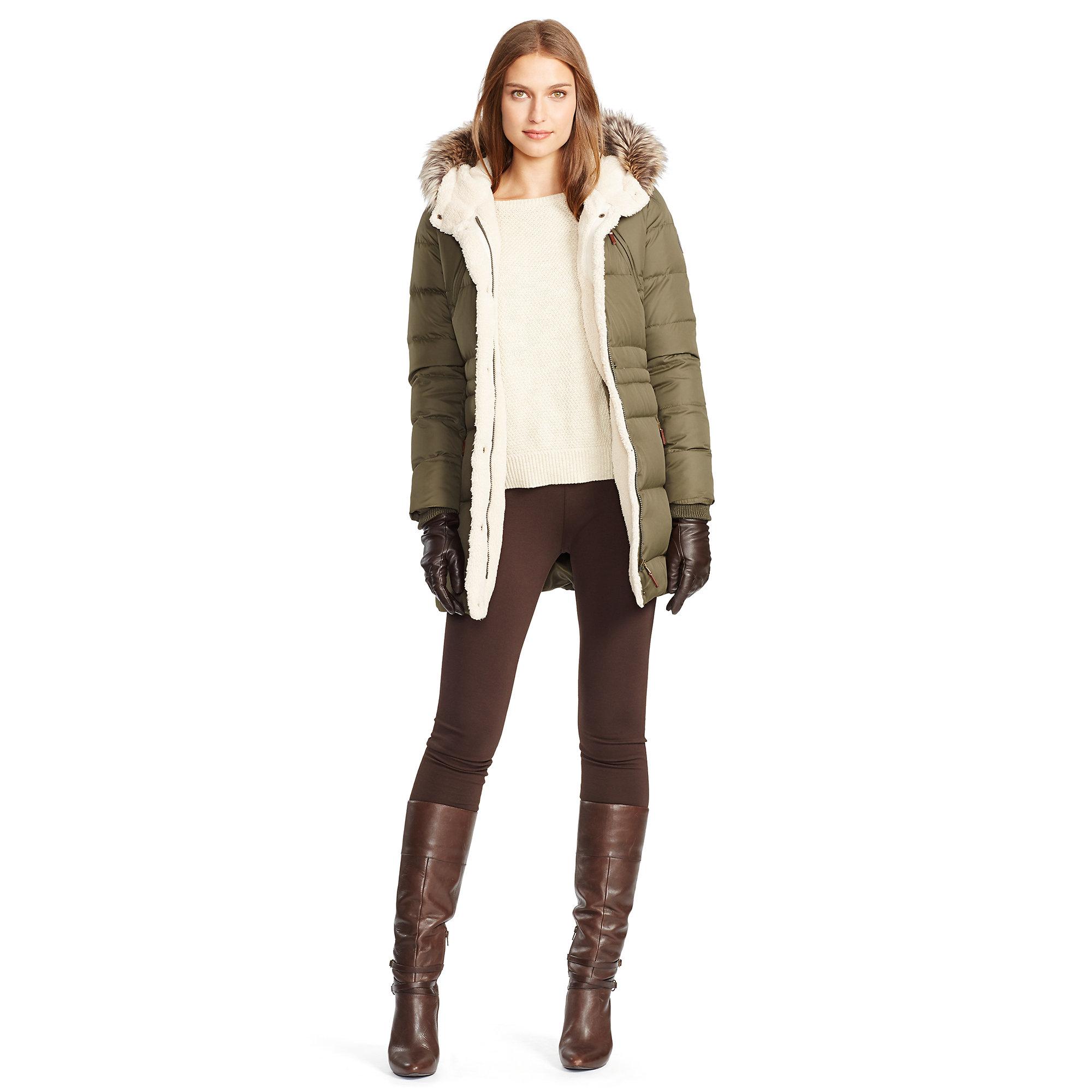 Lyst Ralph Lauren Faux Fur Lined Down Coat In Green