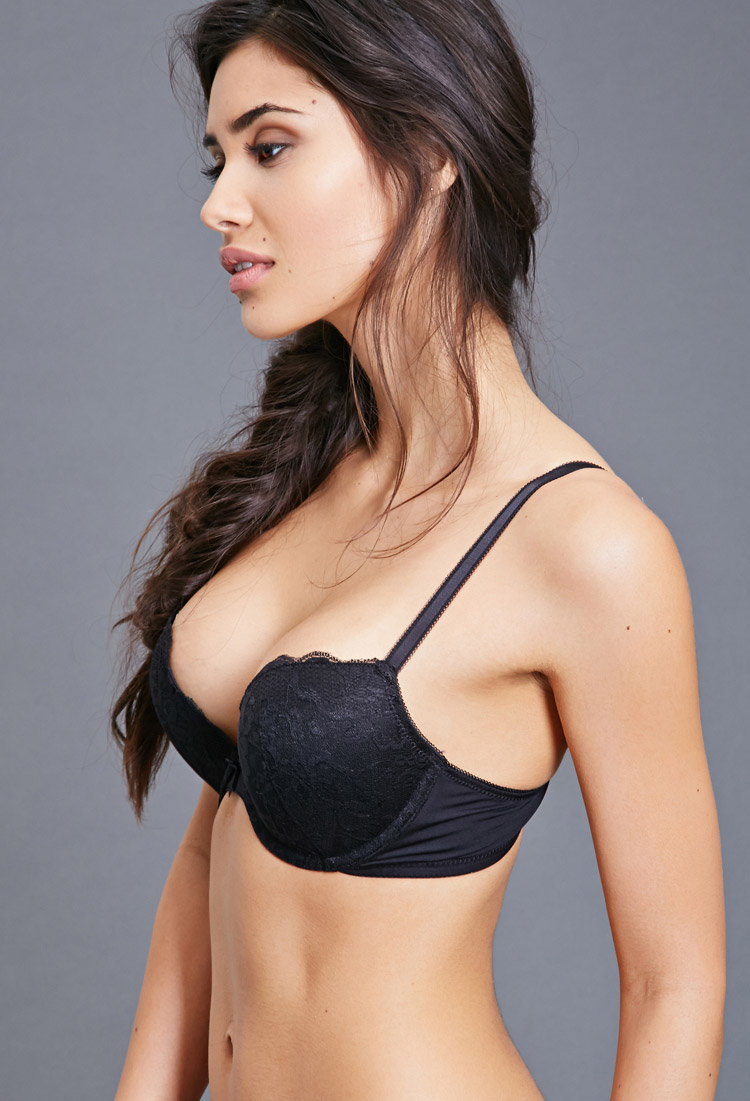 3e43c3d2331 Forever 21 Lace Push-up Bra in Black - Lyst