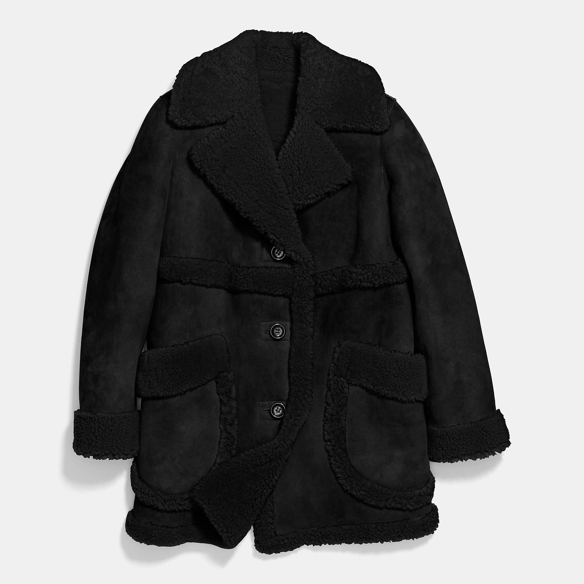 Coach Sheepskin Coat in Black | Lyst