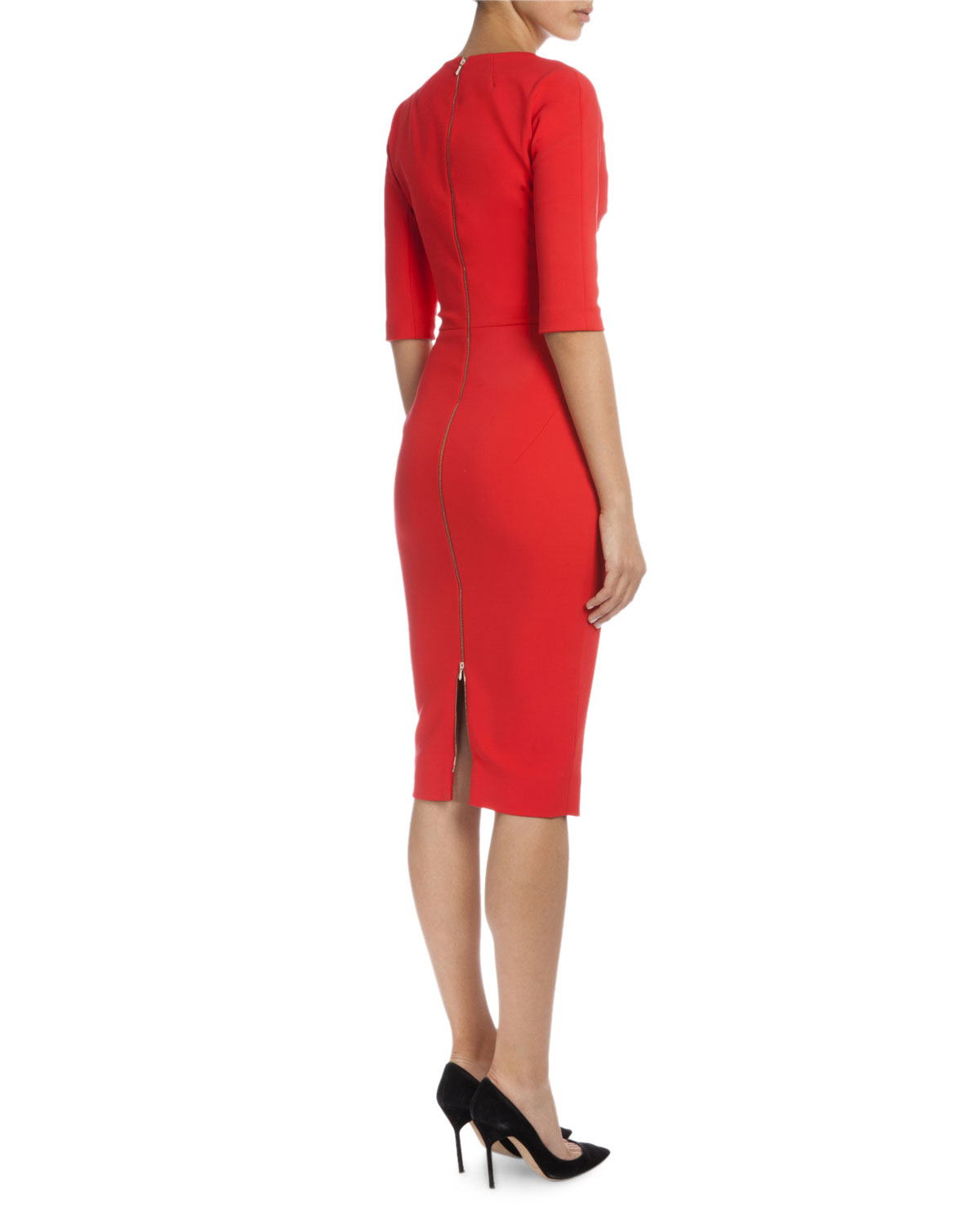 Lyst Victoria Beckham 3 4 Sleeve V Neck Sheath Dress In Red