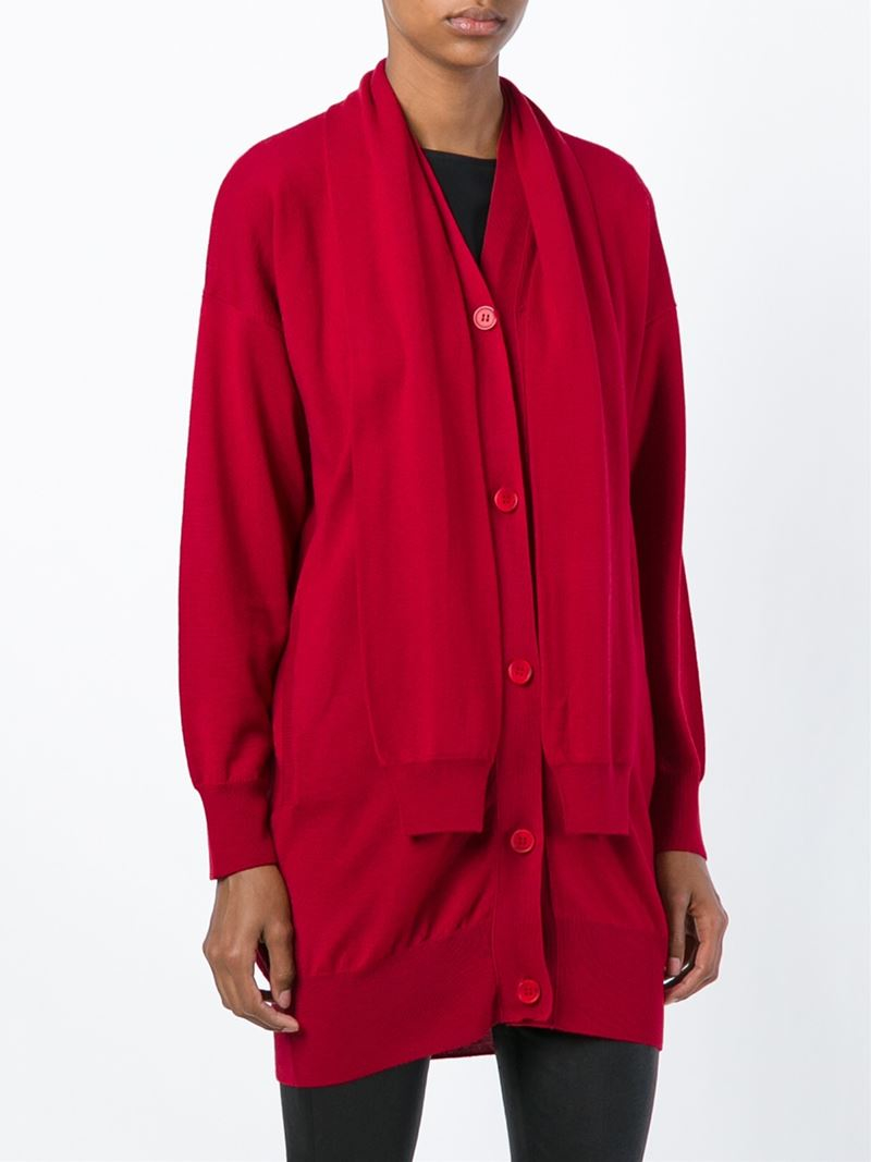 mm6 by maison martin margiela sleeve scarf cardigan in