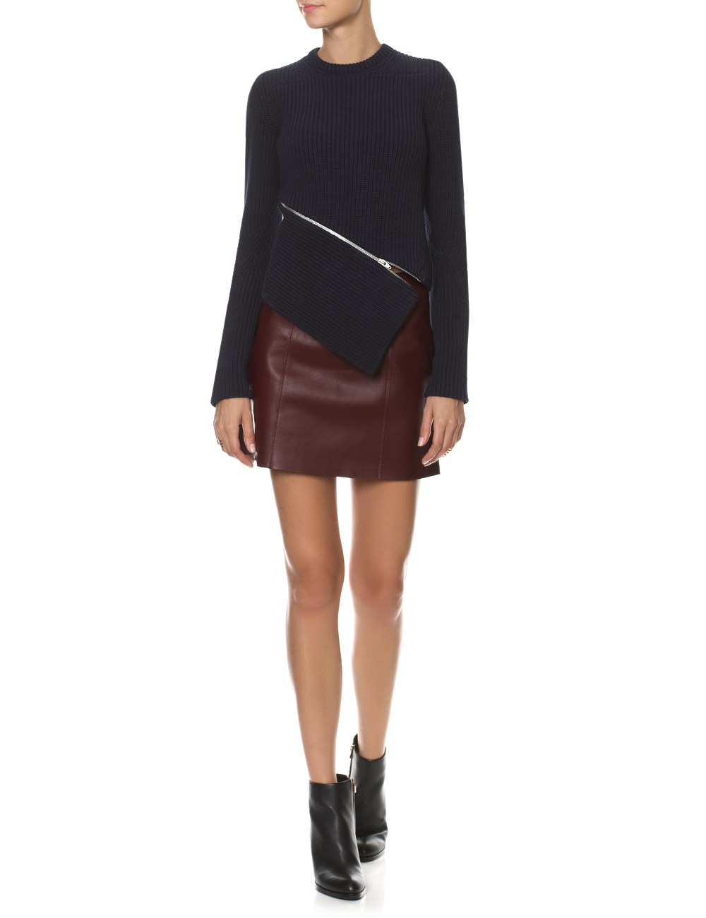 t by wang bordeaux leather edge skirt