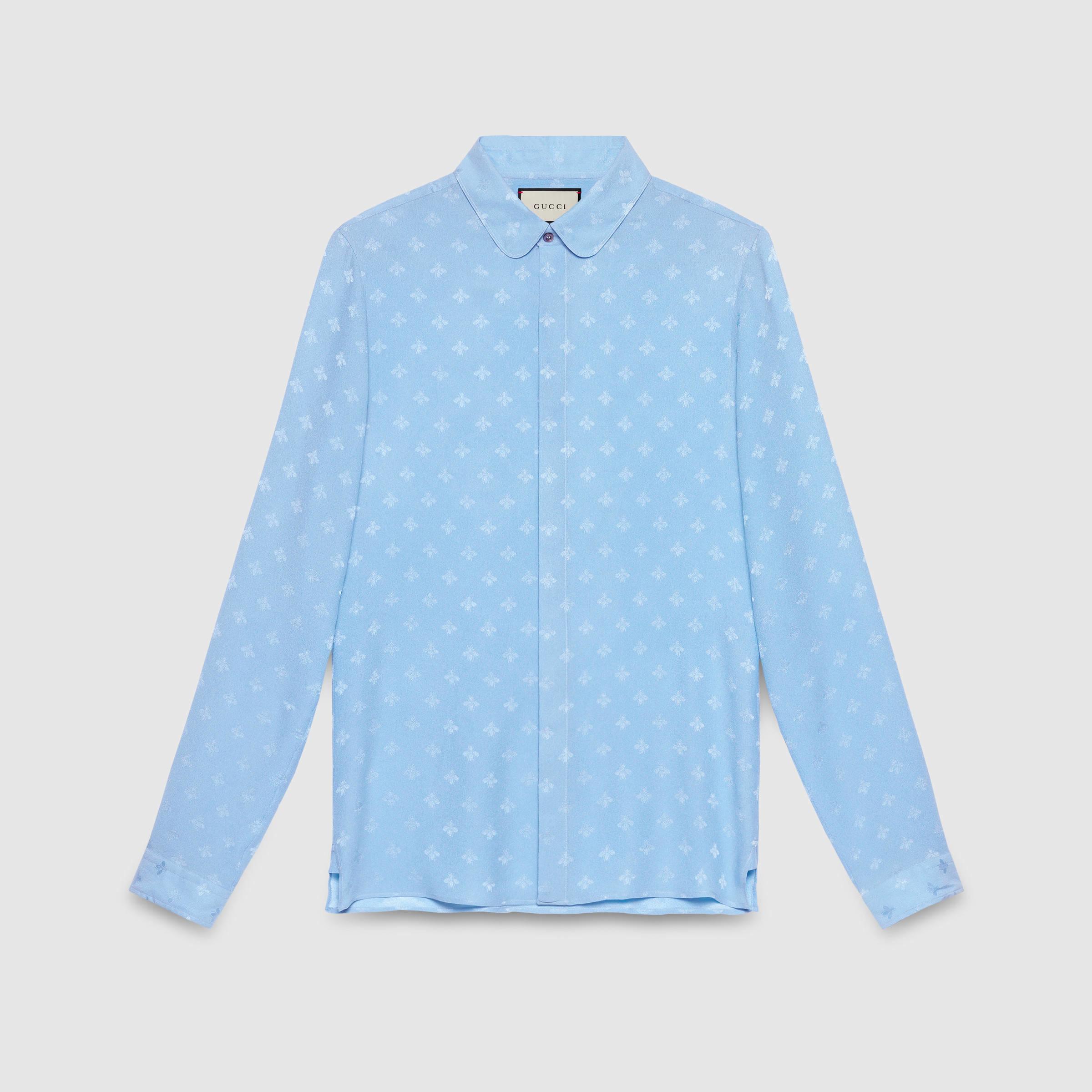 d946d2b2 Gucci Bee Jacquard Cambridge Shirt in Blue for Men - Lyst