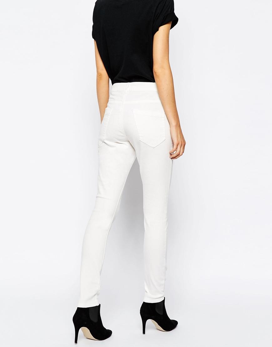 vero moda skinny jeans in white lyst. Black Bedroom Furniture Sets. Home Design Ideas