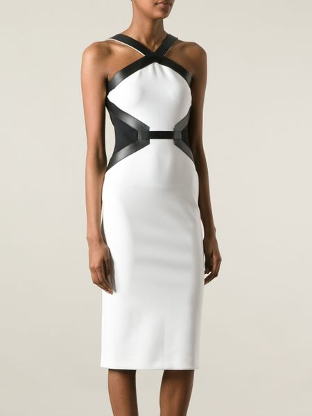 David Koma Fitted Monochrome Dress In White Lyst