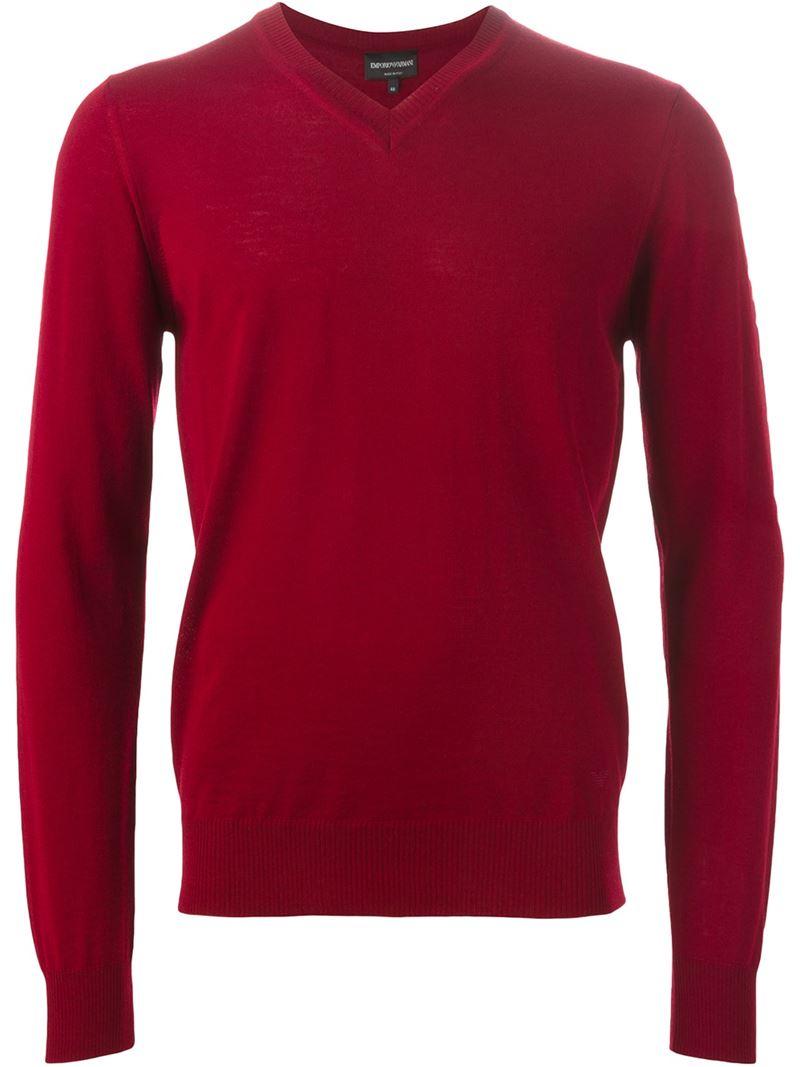 lyst emporio armani v neck sweater in red for men. Black Bedroom Furniture Sets. Home Design Ideas