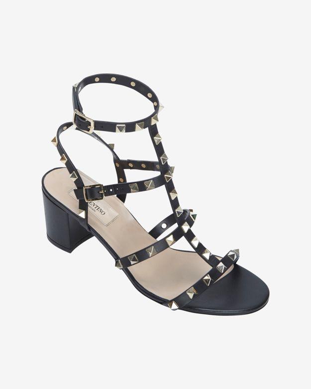 ac30db84d62 Lyst - Valentino Rockstud Gladiator Mid Chunky Heel Sandal Black in ...
