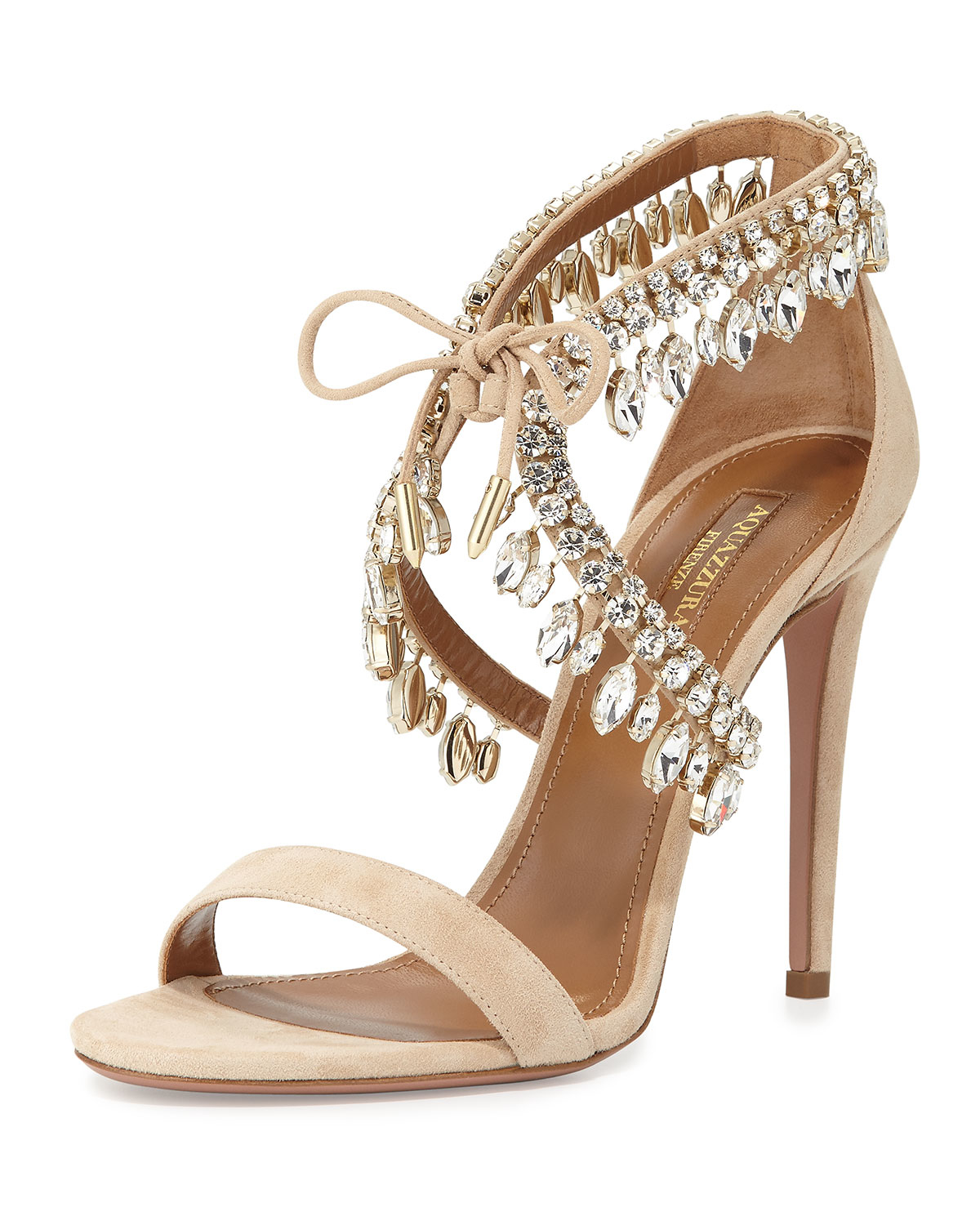 fb225a0f9 Aquazzura Milla Jeweled Suede Sandals in Metallic - Lyst