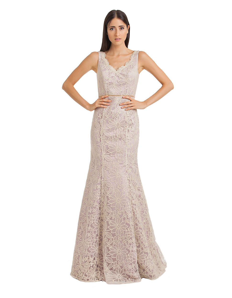Lyst - Js Collections Floral Embroidered Fit And Flare Gown in Metallic