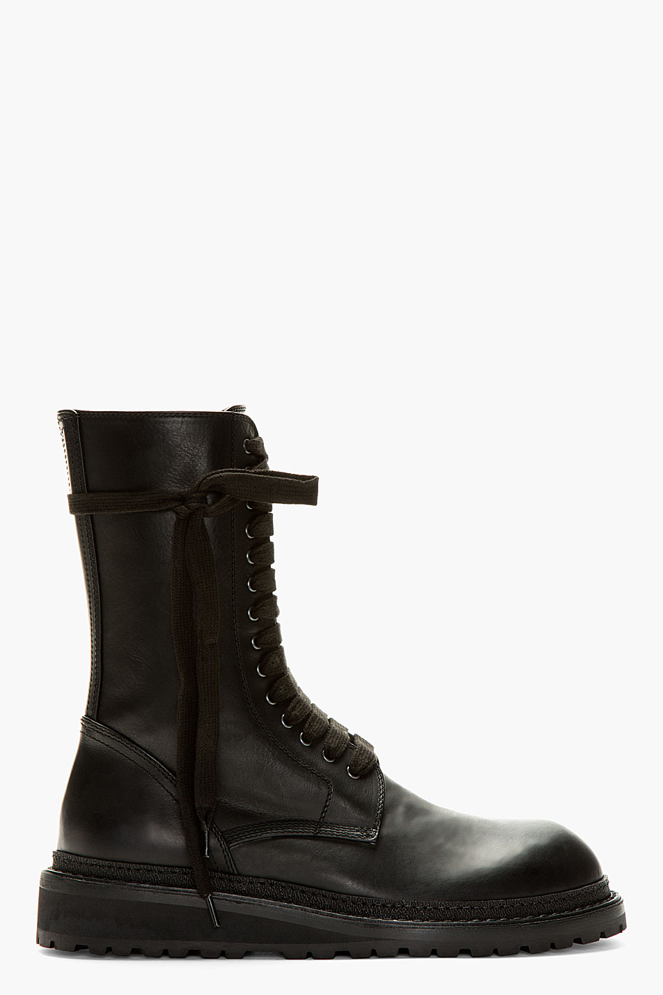 Ann demeulemeester Black Leather Tall Lace Up Boots in Black for ...