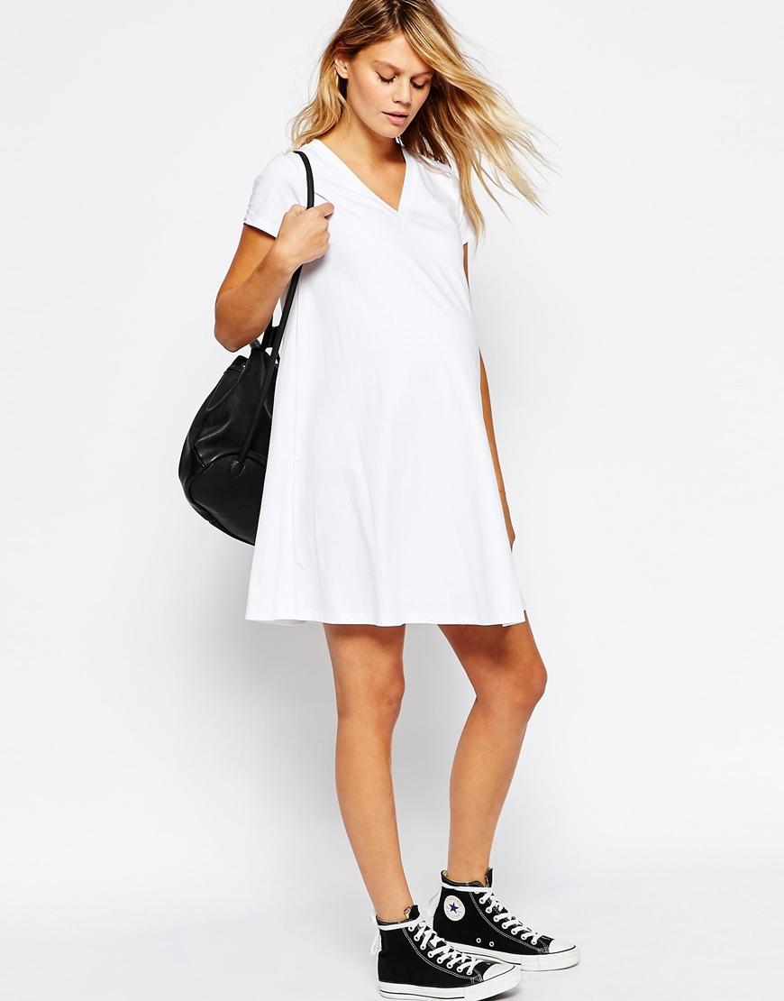 Asos maternity v neck swing dress in white lyst be inspired ombrellifo Choice Image