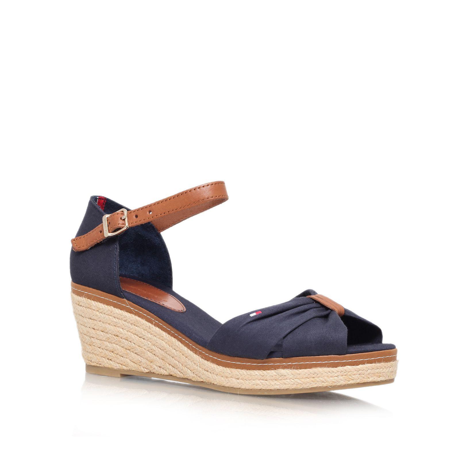 tommy hilfiger elba 19d mid wedge heel sandals in blue navy lyst. Black Bedroom Furniture Sets. Home Design Ideas