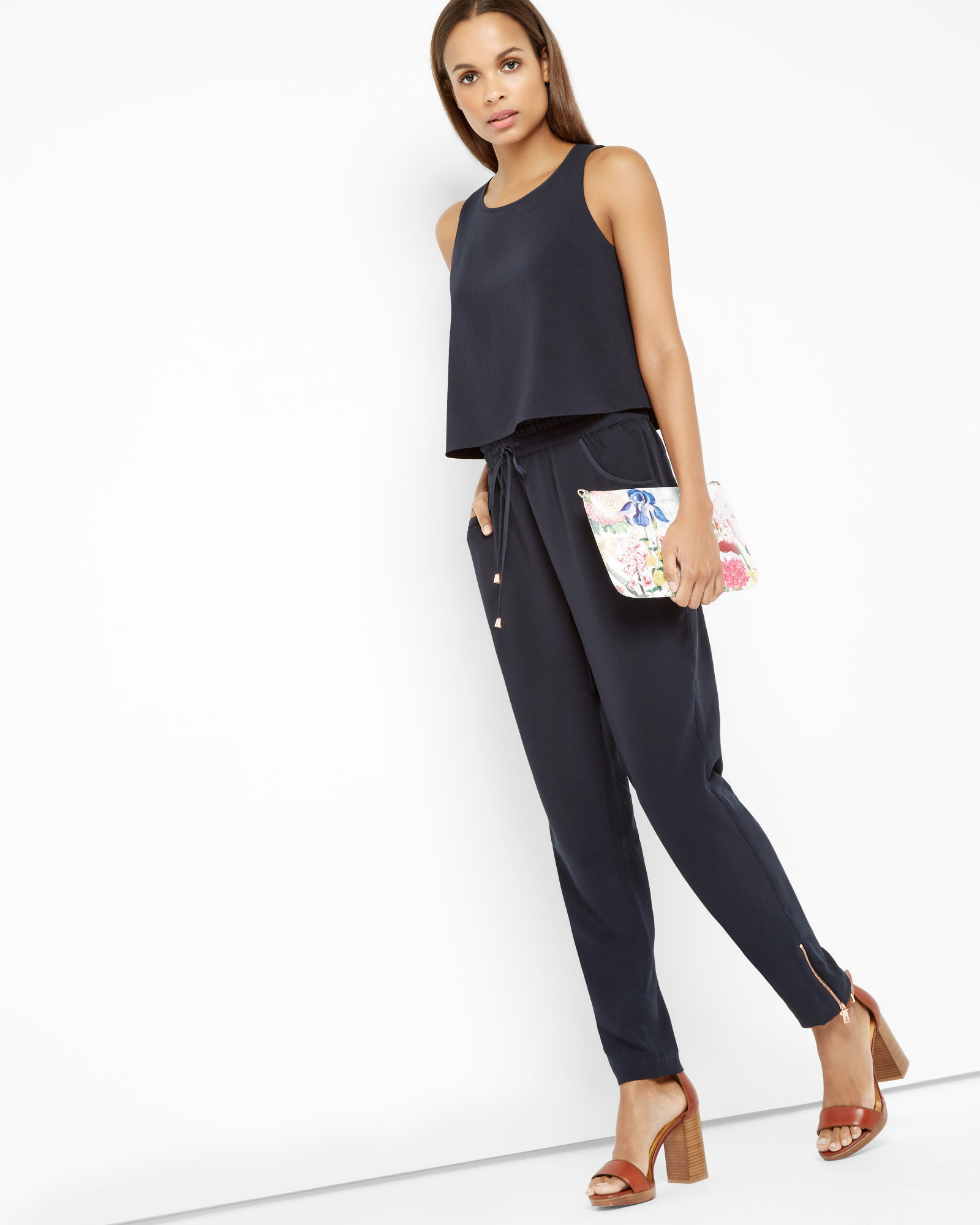3a311da3f3 Ted baker draped top textured jumpsuit in black lyst jpg 1600x2000 Ted  baker jumpsuit