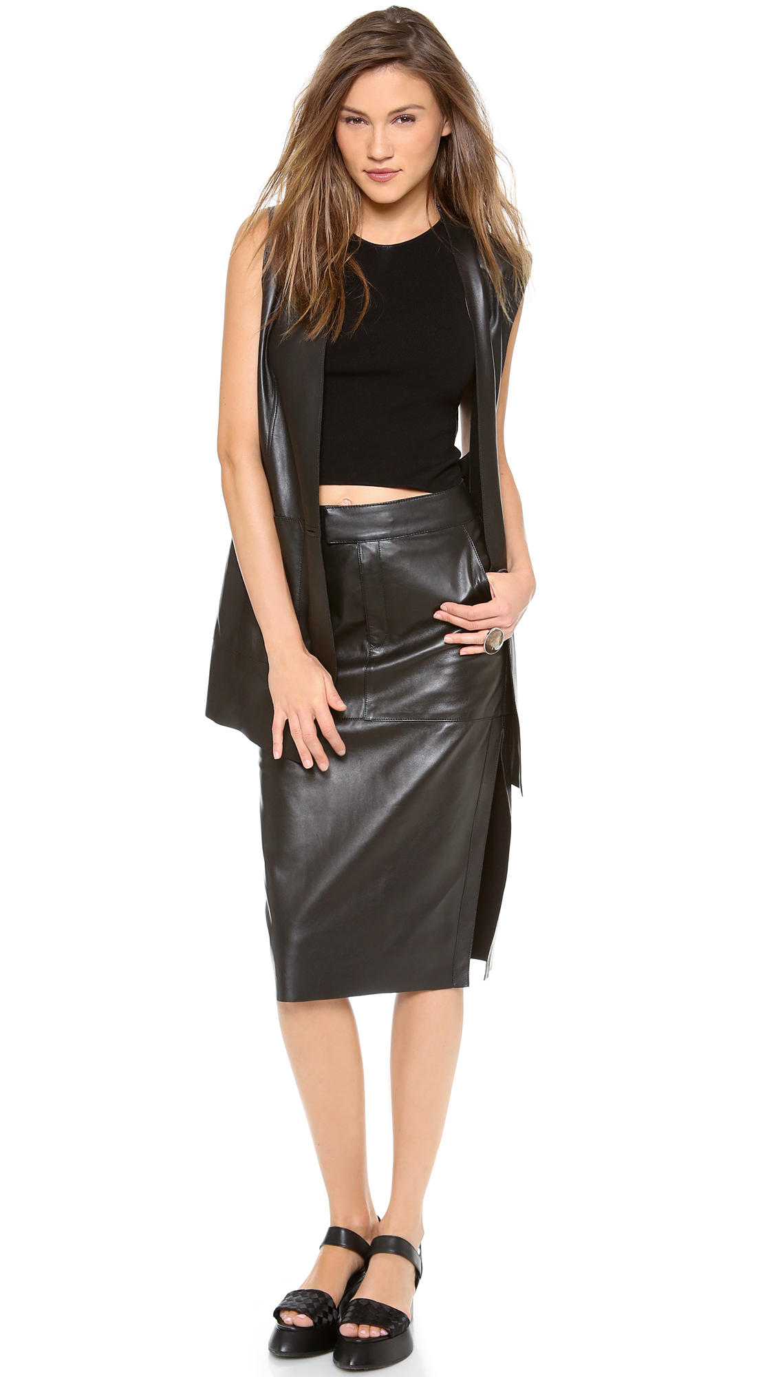 helmut lang high waisted leather skirt in black lyst