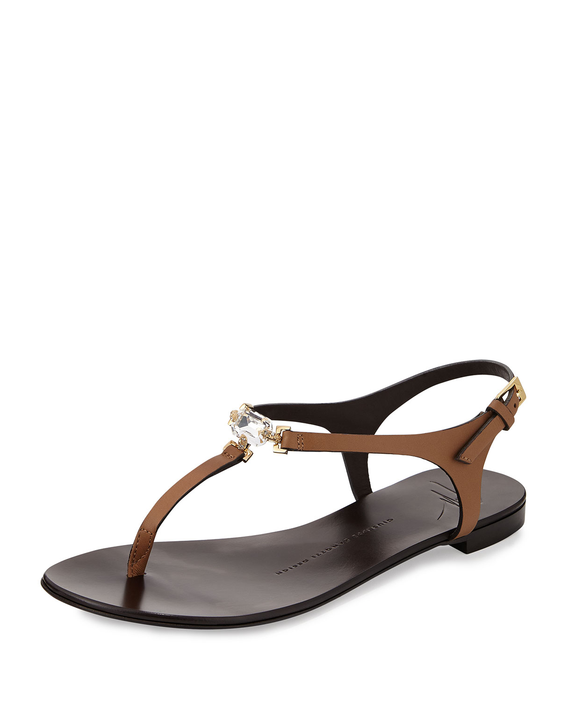 Lyst - Giuseppe Zanotti Crystal Flat Thong Sandal In Black