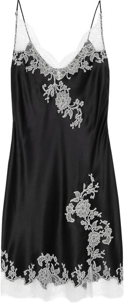 Carine Gilson Lace Appliqué Silk-satin Chemise in Black