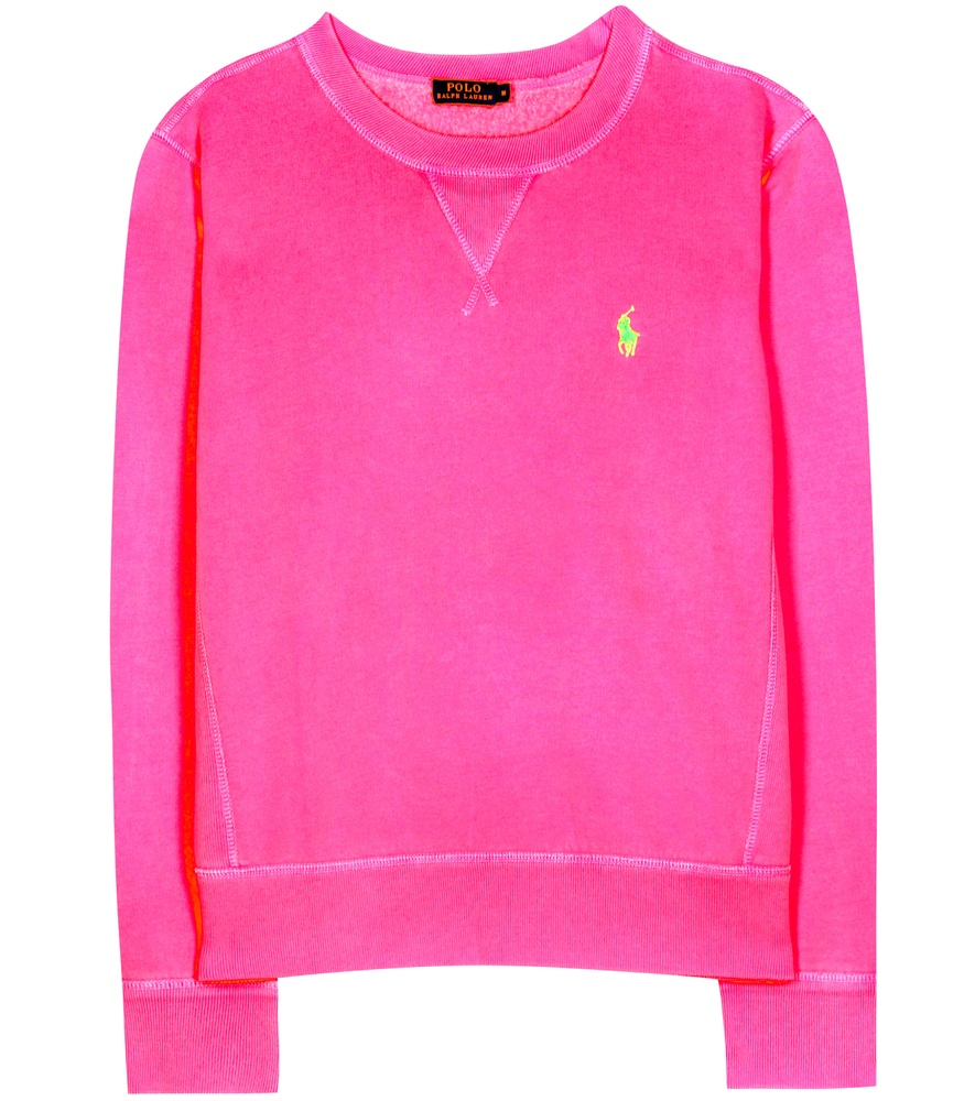 polo ralph lauren cotton blend sweatshirt in pink lyst. Black Bedroom Furniture Sets. Home Design Ideas