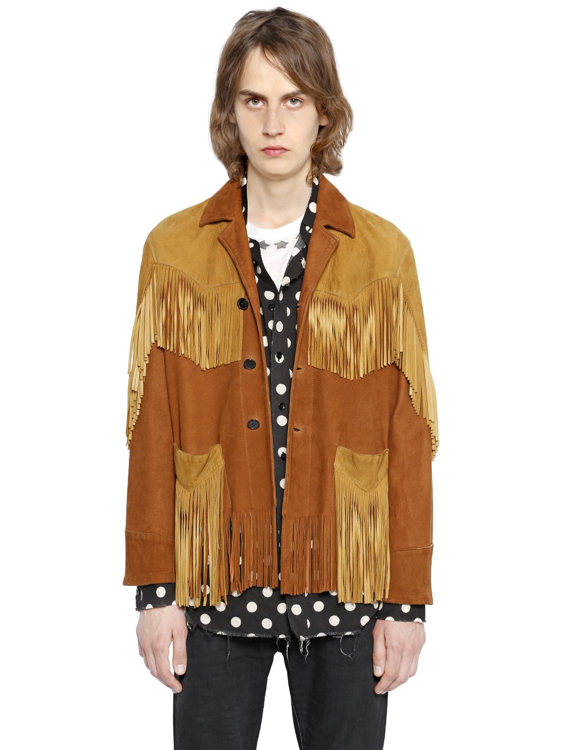 Suede Jacket Outfits For Men 20 Ways To Wear A Suede Jacket: Saint Laurent Vintage Fringed Suede Jacket In Brown