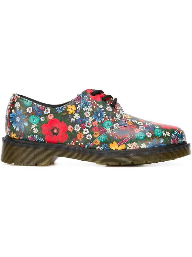 Dr. Martens Floral-Print Leather Derby Shoes in Blue
