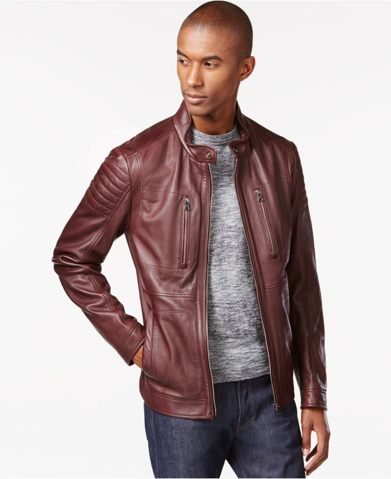 e03a22b5a5 BOSS Boss Naquinn Lambskin-leather Jacket in Purple for Men - Lyst