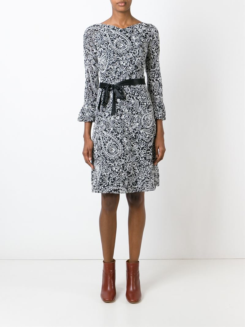 Tory Burch Floral Embroidered Dress In Black Lyst