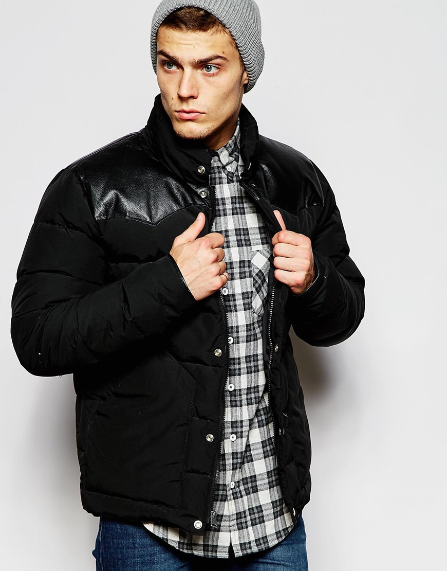 Penfield Shower Proof Pelham Down Fill Jacket With Leather Yoke in ...