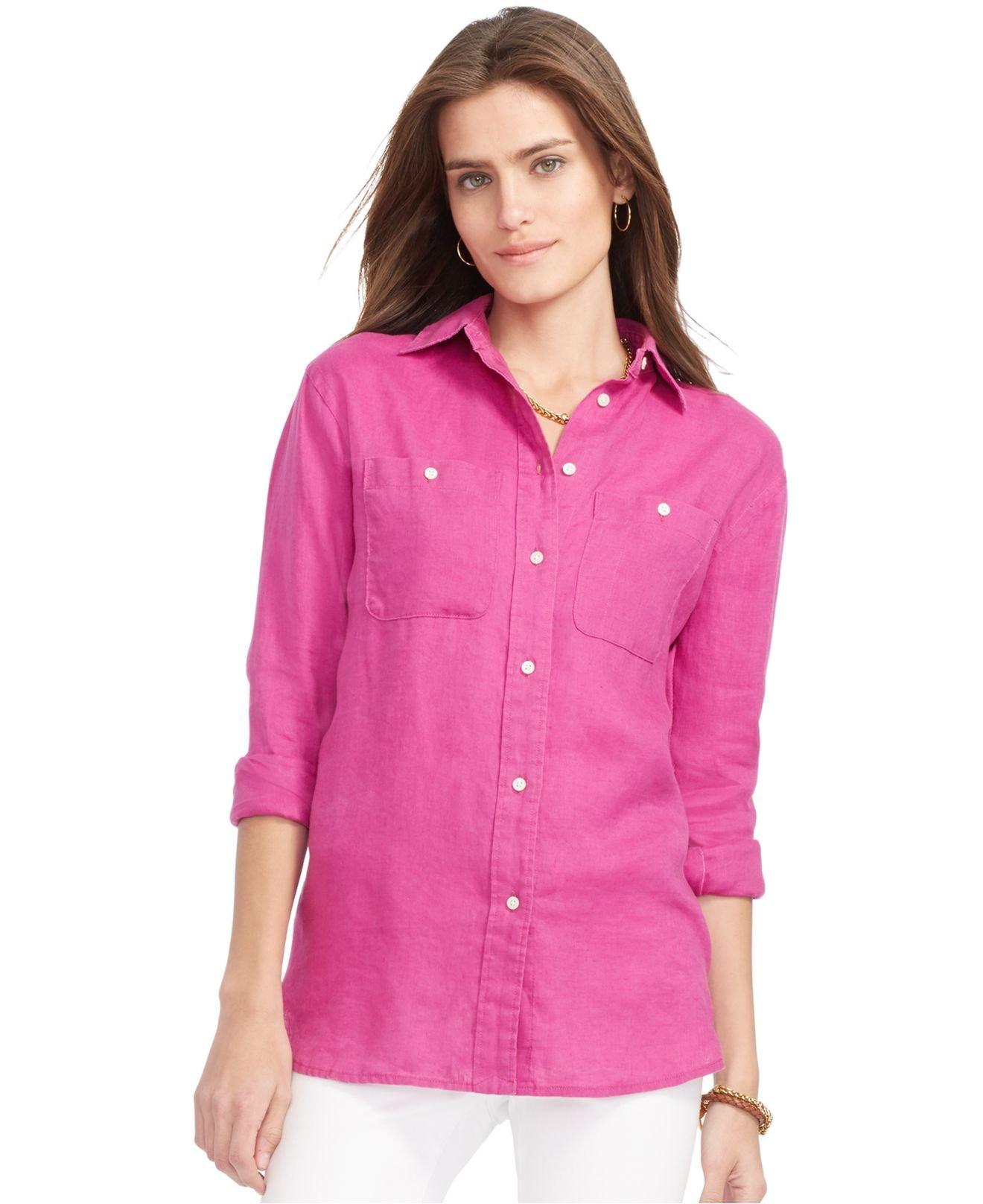 Lauren by ralph lauren linen boyfriend shirt in pink lyst for Pink and white ralph lauren shirt