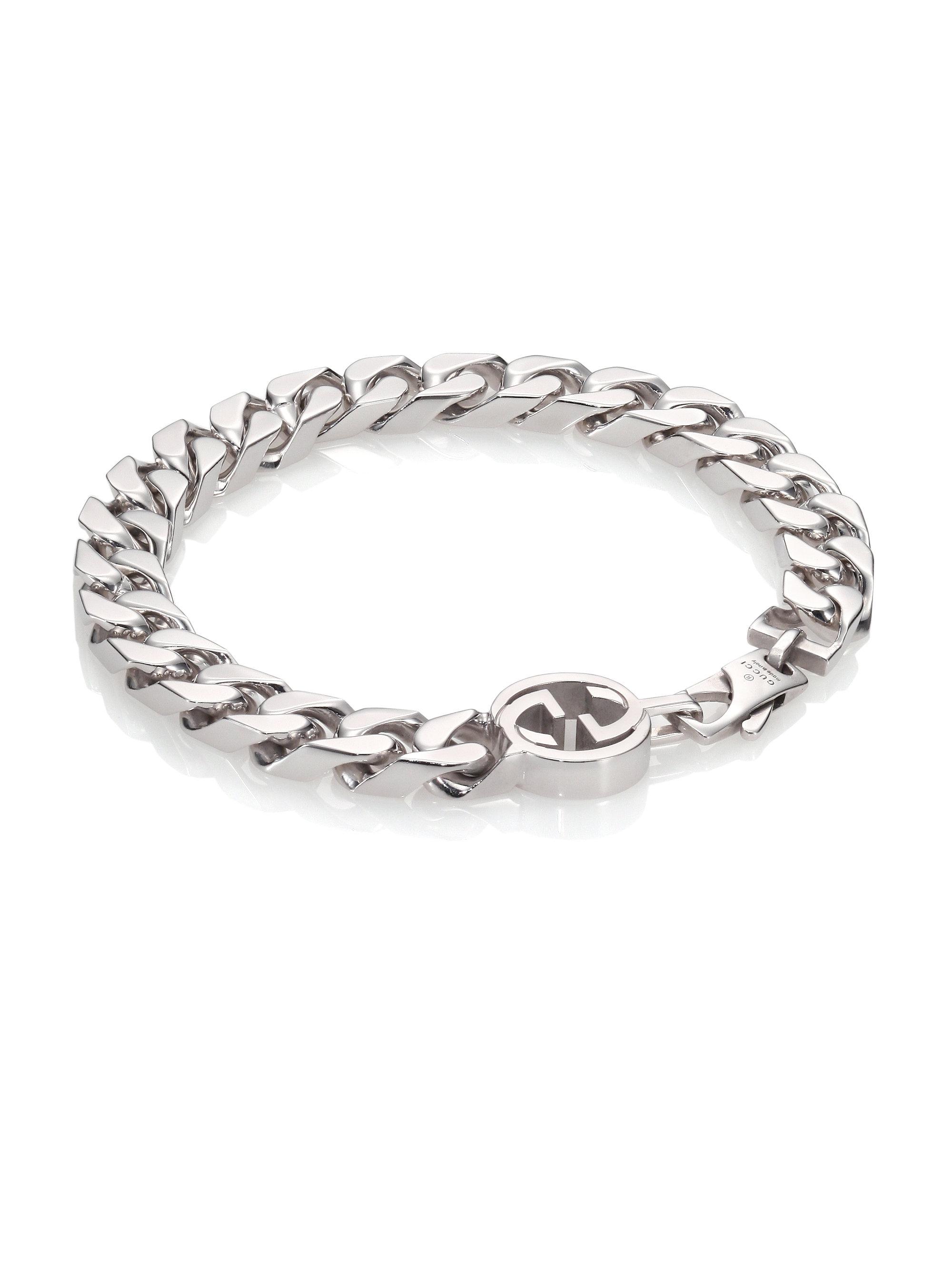 Lyst Gucci Interlocking Sterling Silver Bracelet In