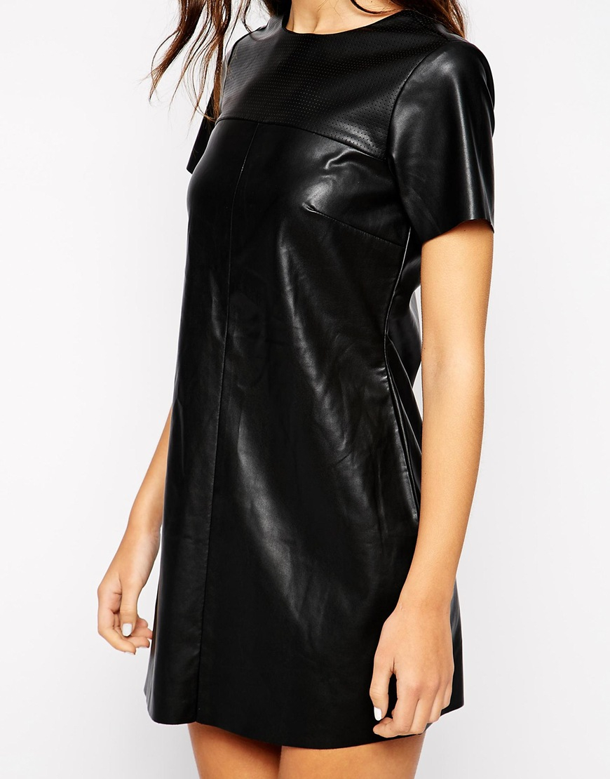 Lyst Pull Amp Bear Leather Look T Shirt Dress In Black