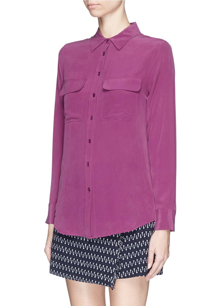 Lyst equipment 39 slim signature 39 silk shirt in purple for Equipment signature silk shirt