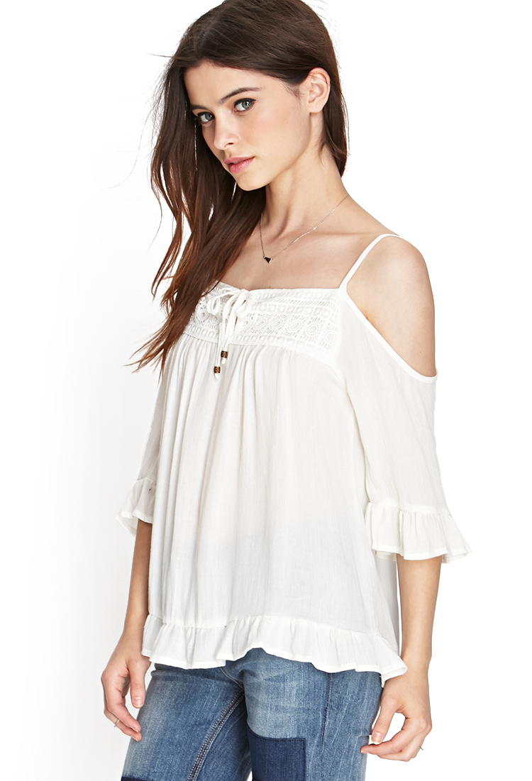 92e4db733a5c1b Lyst - Forever 21 Open-shoulder Peasant Top in White