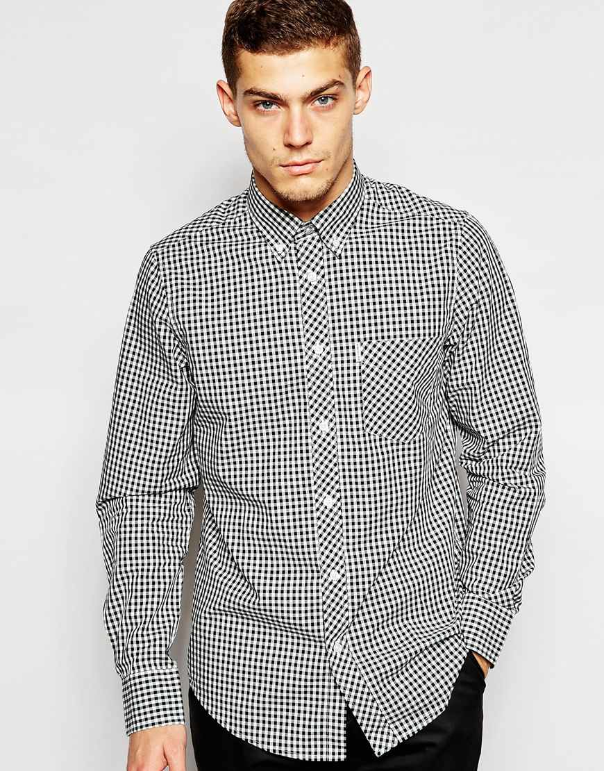 Lyst Ben Sherman Shirt With Gingham Check In Black For Men