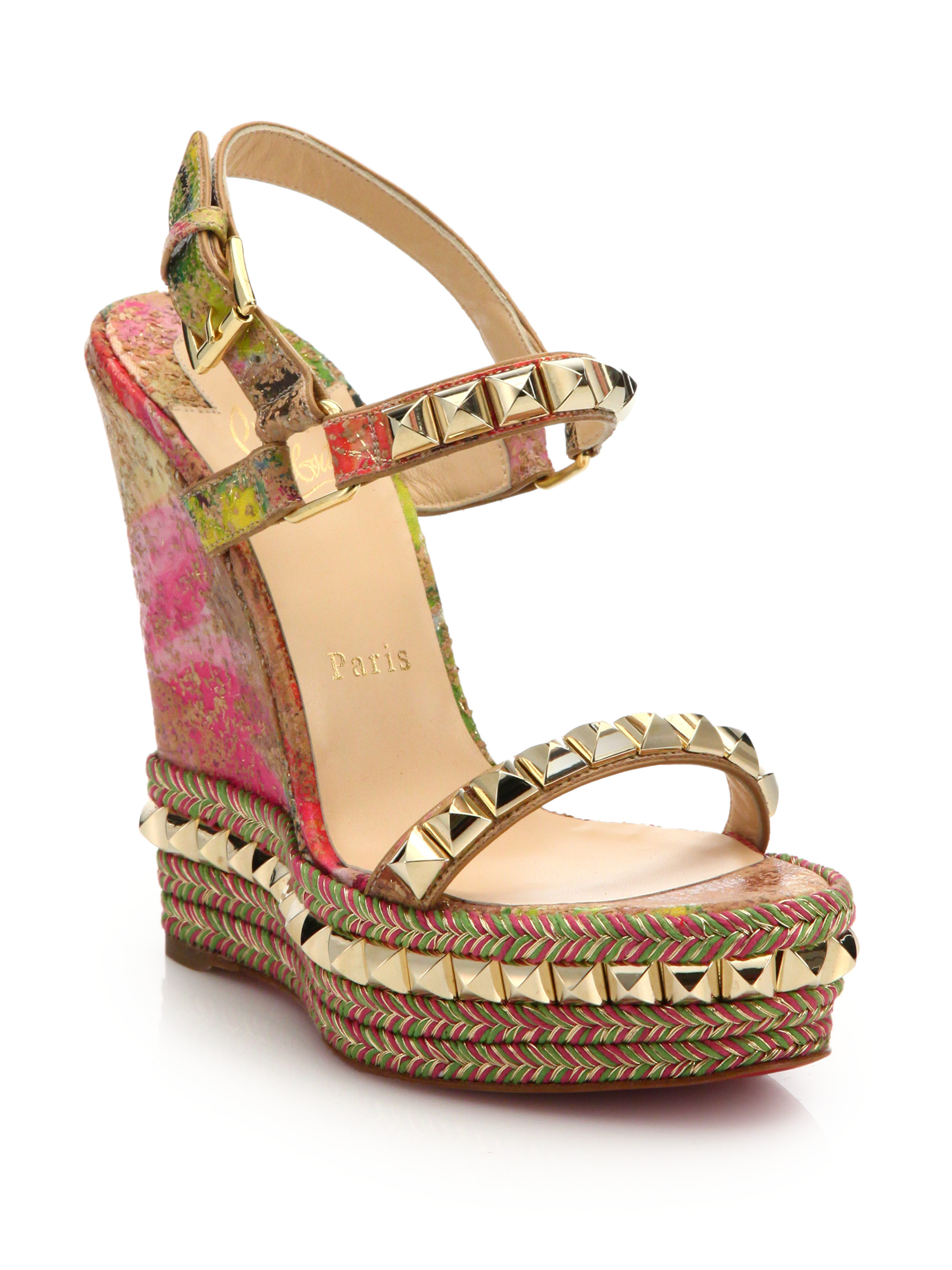 christian louboutin wedge espadrille sandals