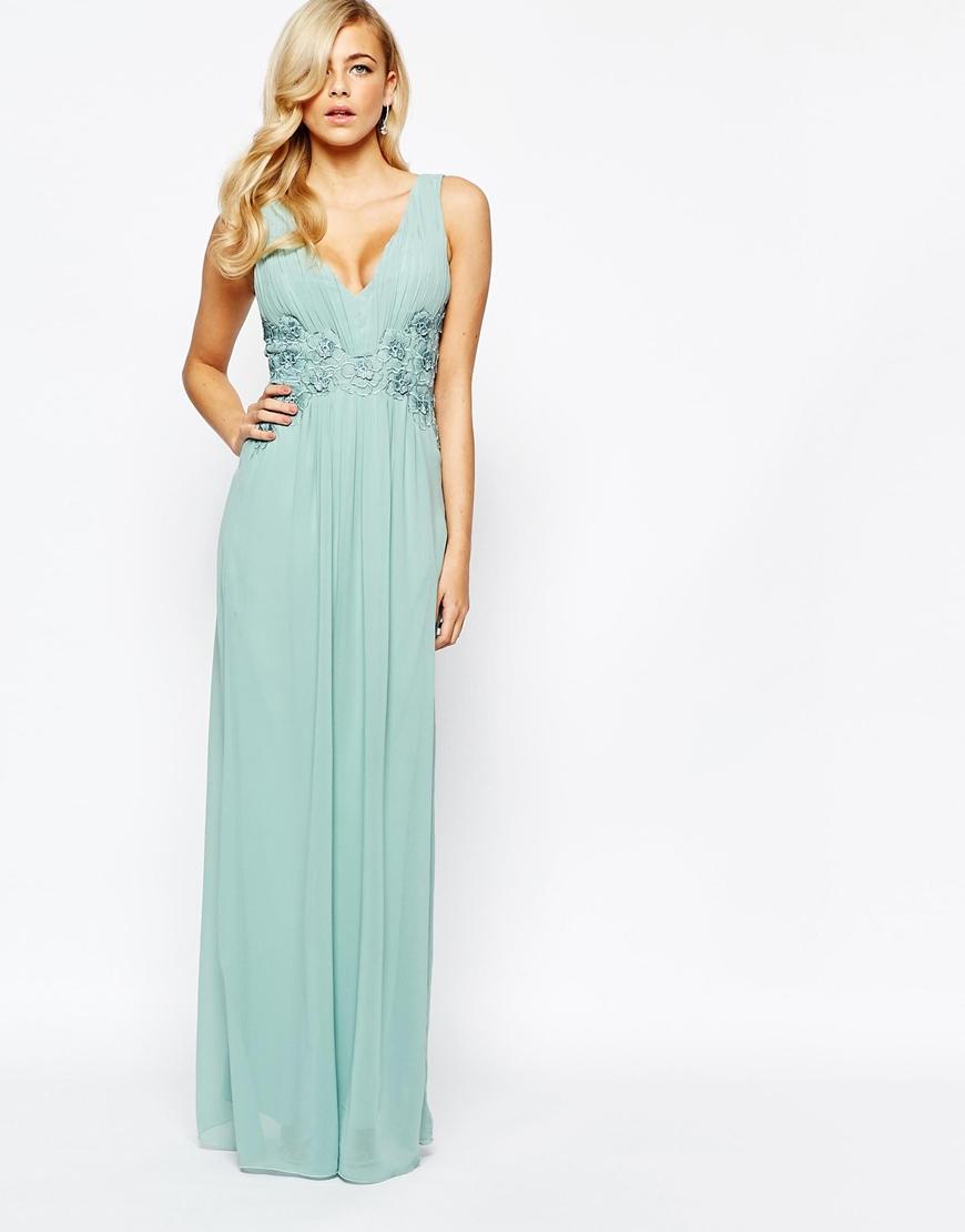 Lyst - Little Mistress Lace Waist Maxi Dress in Blue