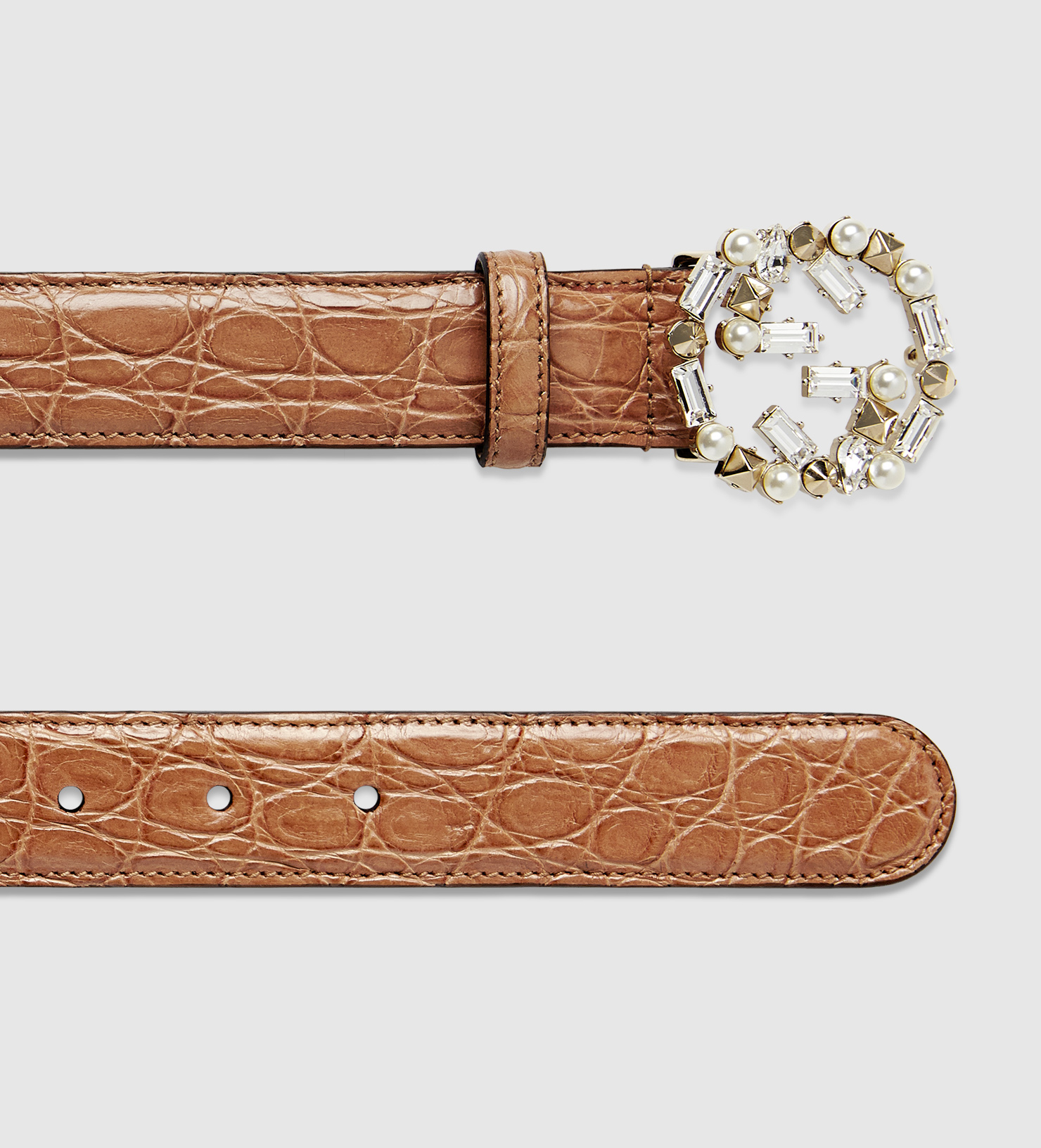 d90d97960dd Lyst - Gucci Crocodile Belt With Pearl And Crystal Interlocking G ...