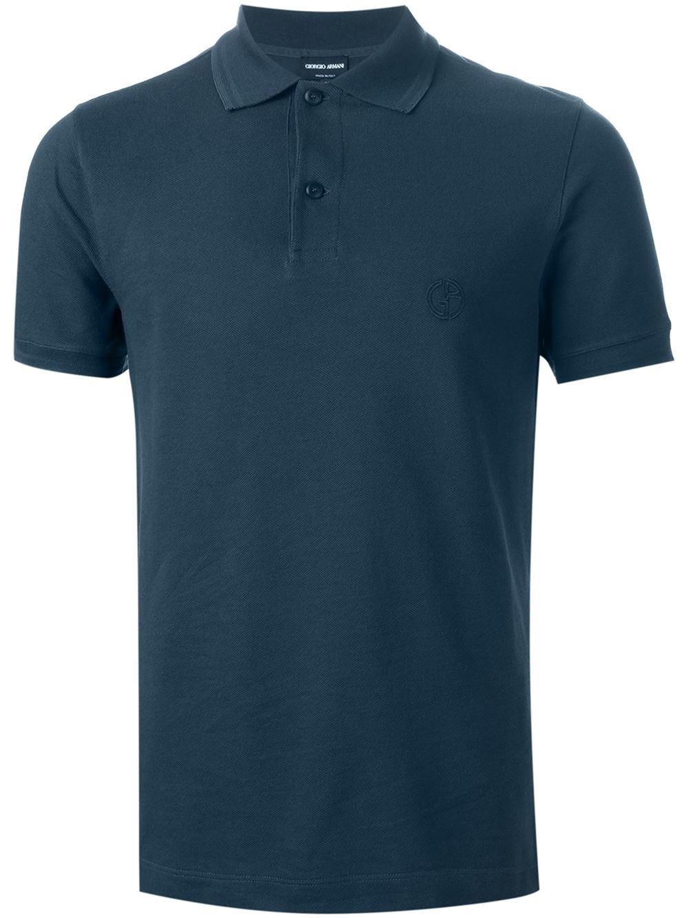 Giorgio armani logo embroidered polo shirt in blue for men for Work polo shirts with logo