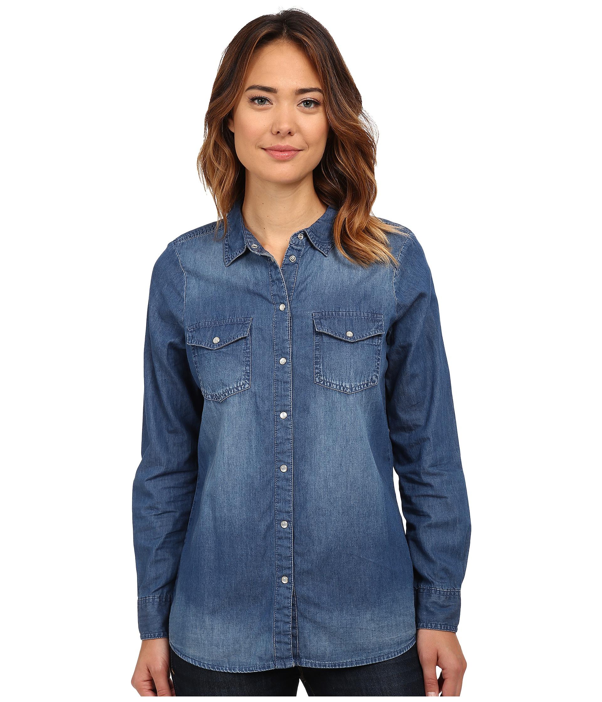 877eda9864f3e8 Dark Denim Shirt Womens For Sale