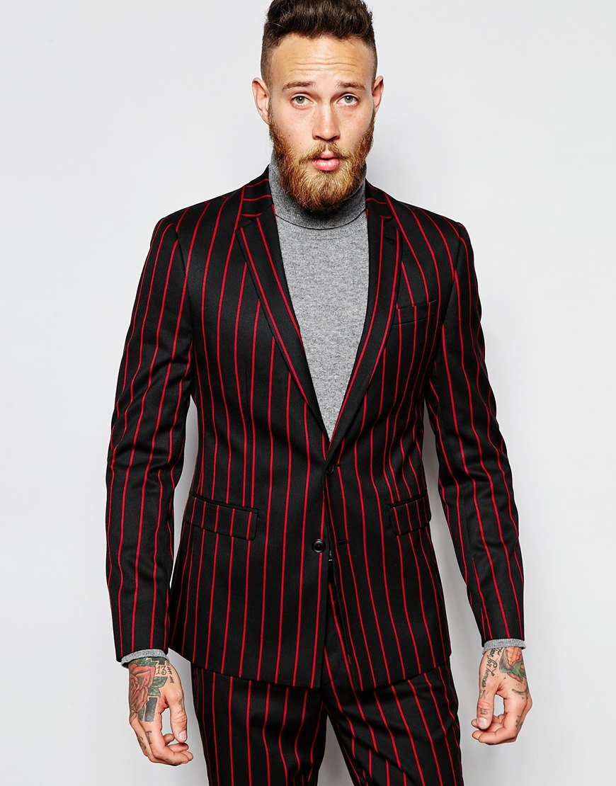 Asos Slim Suit Jacket In Pinstripe in Blue for Men | Lyst