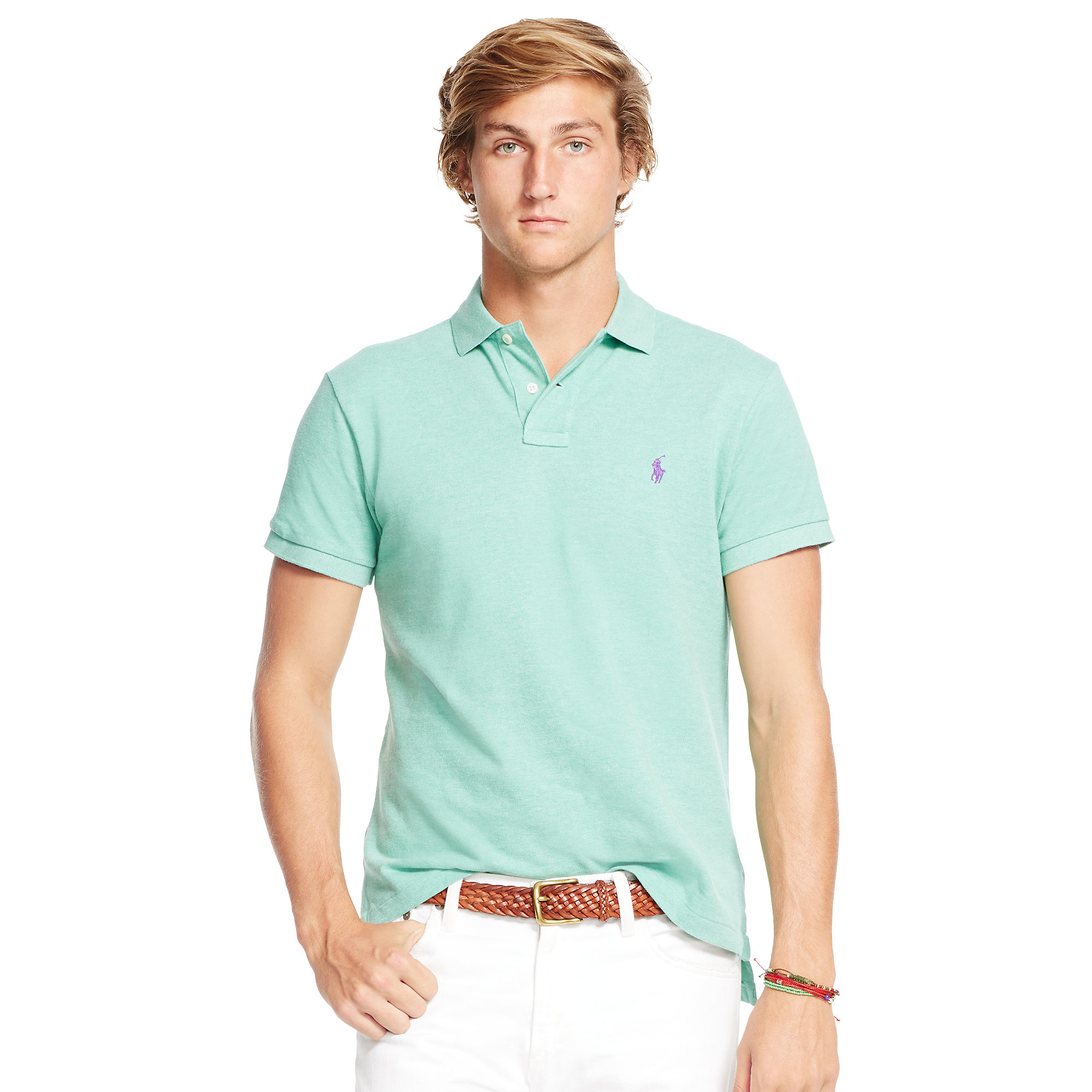 34311cb9f99ef Lyst - Polo Ralph Lauren Classic-fit Mesh Polo Shirt in Green for Men