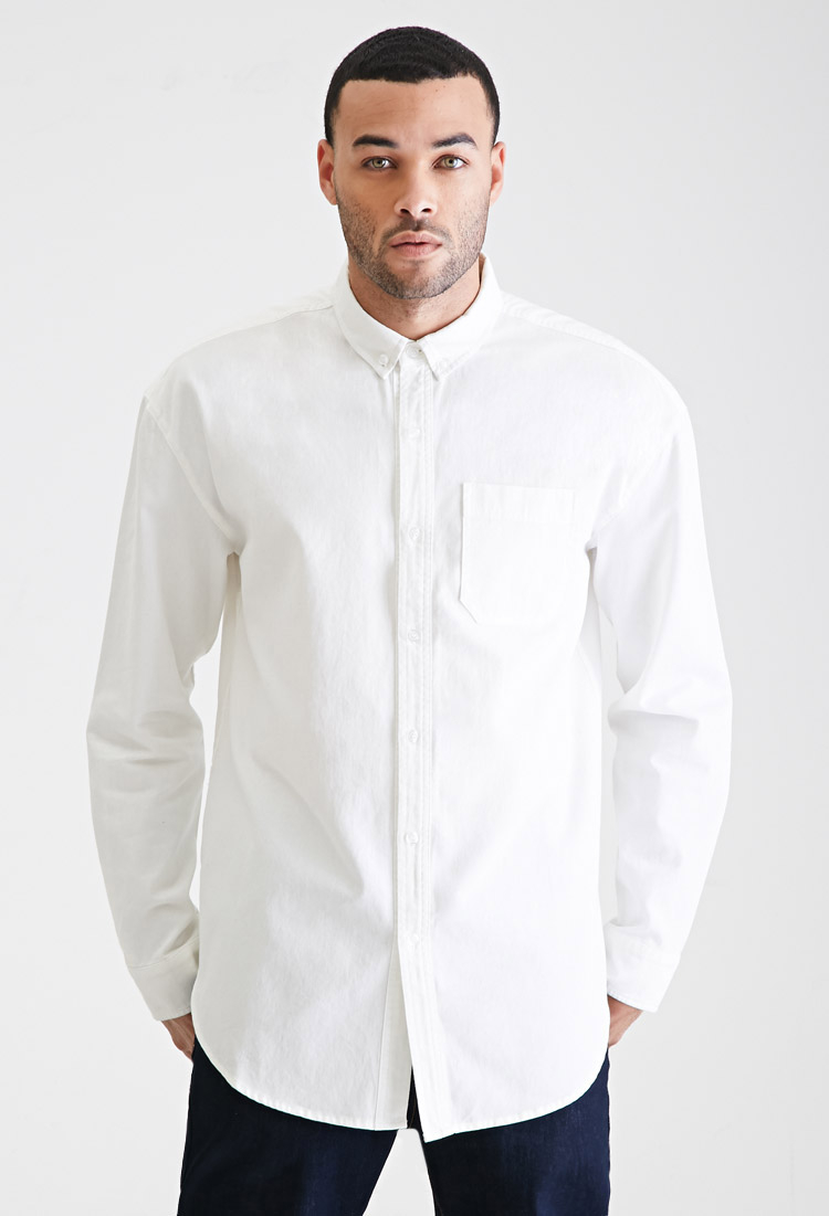 forever 21 longline oxford collar shirt in white for men