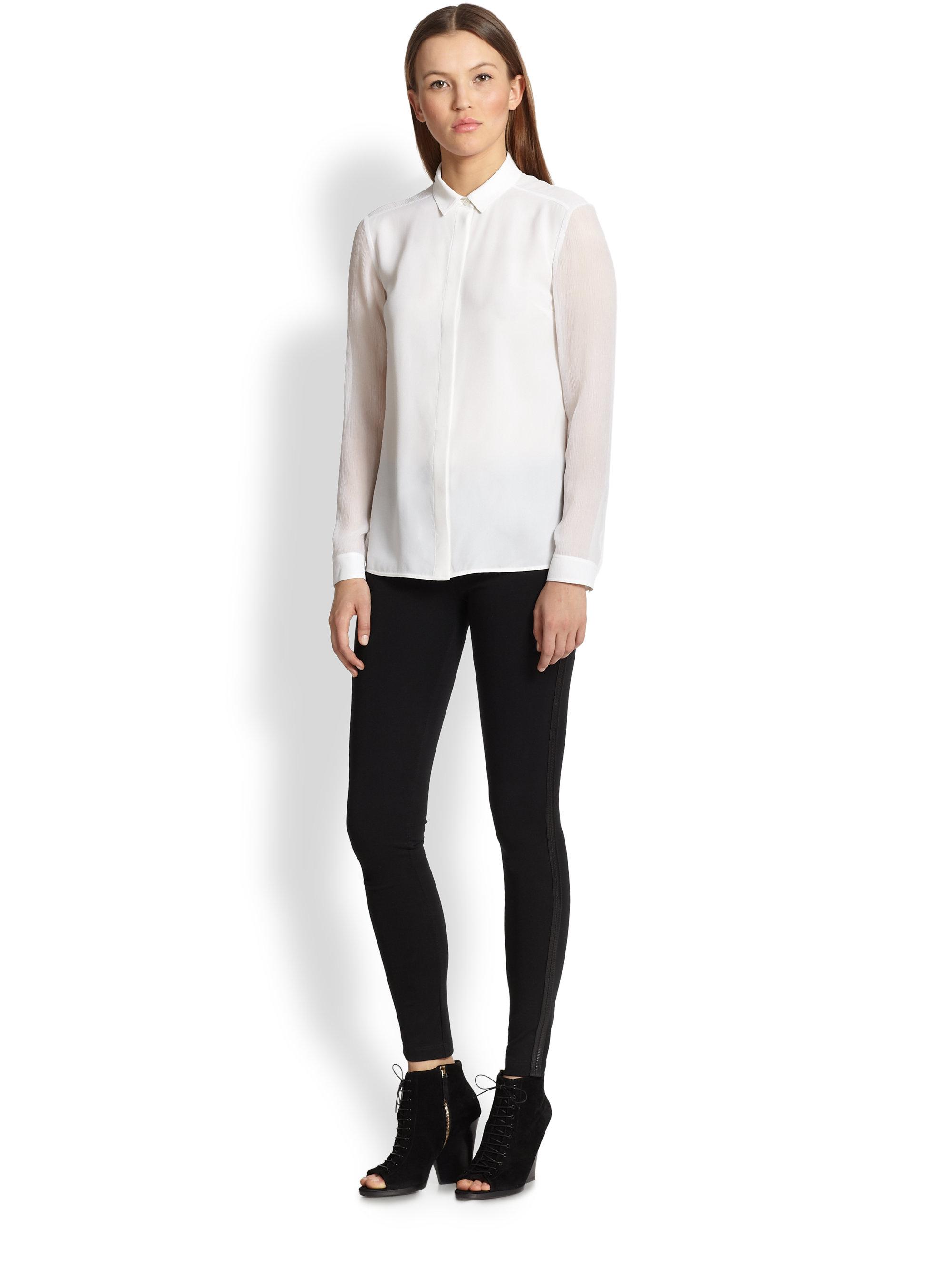 4242d6deecfa3e Burberry Sheer-Sleeve Silk Blouse in White - Lyst