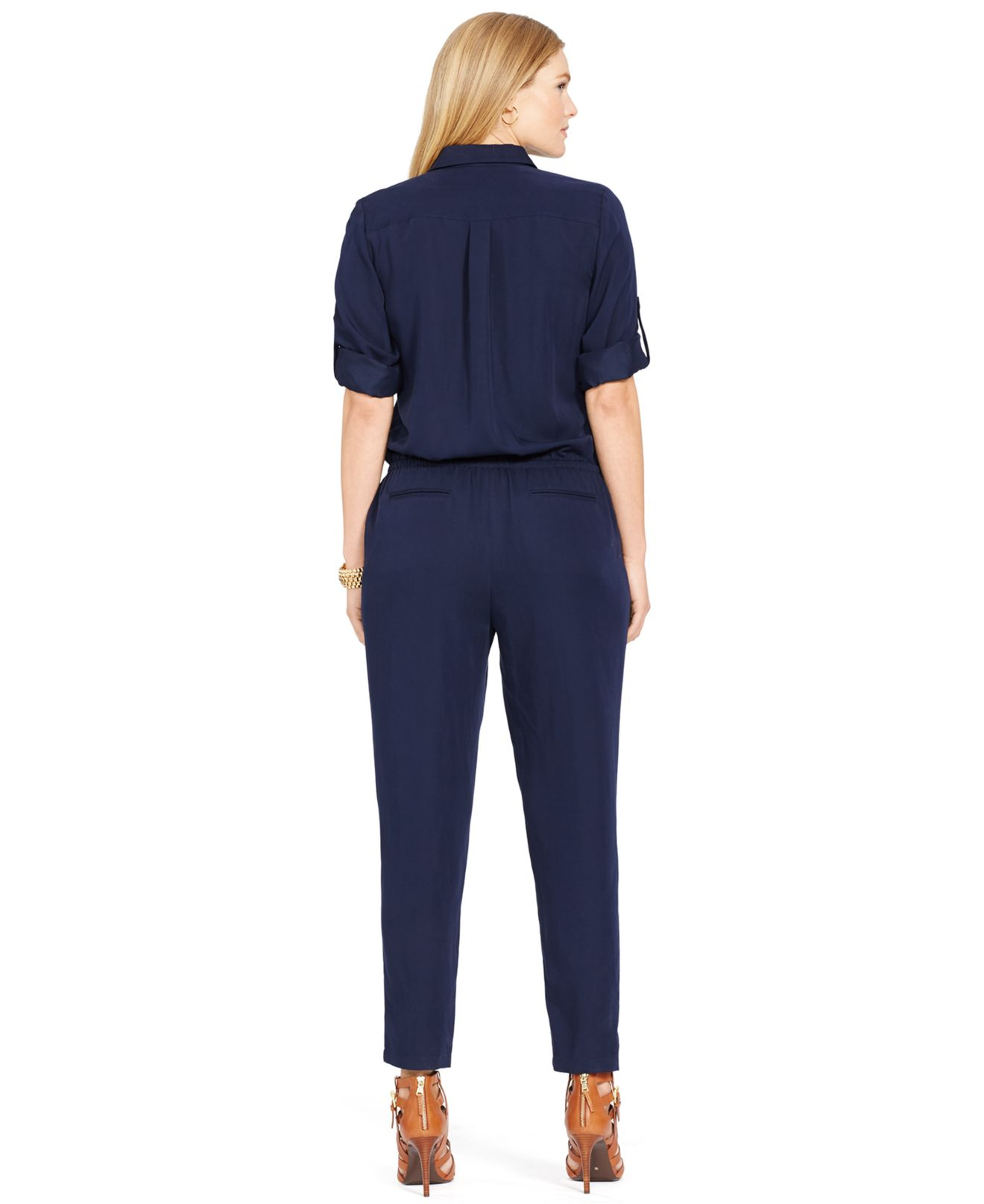 fffd7c7448b Lyst - Lauren by Ralph Lauren Plus Size Long-Sleeve Jumpsuit in Blue