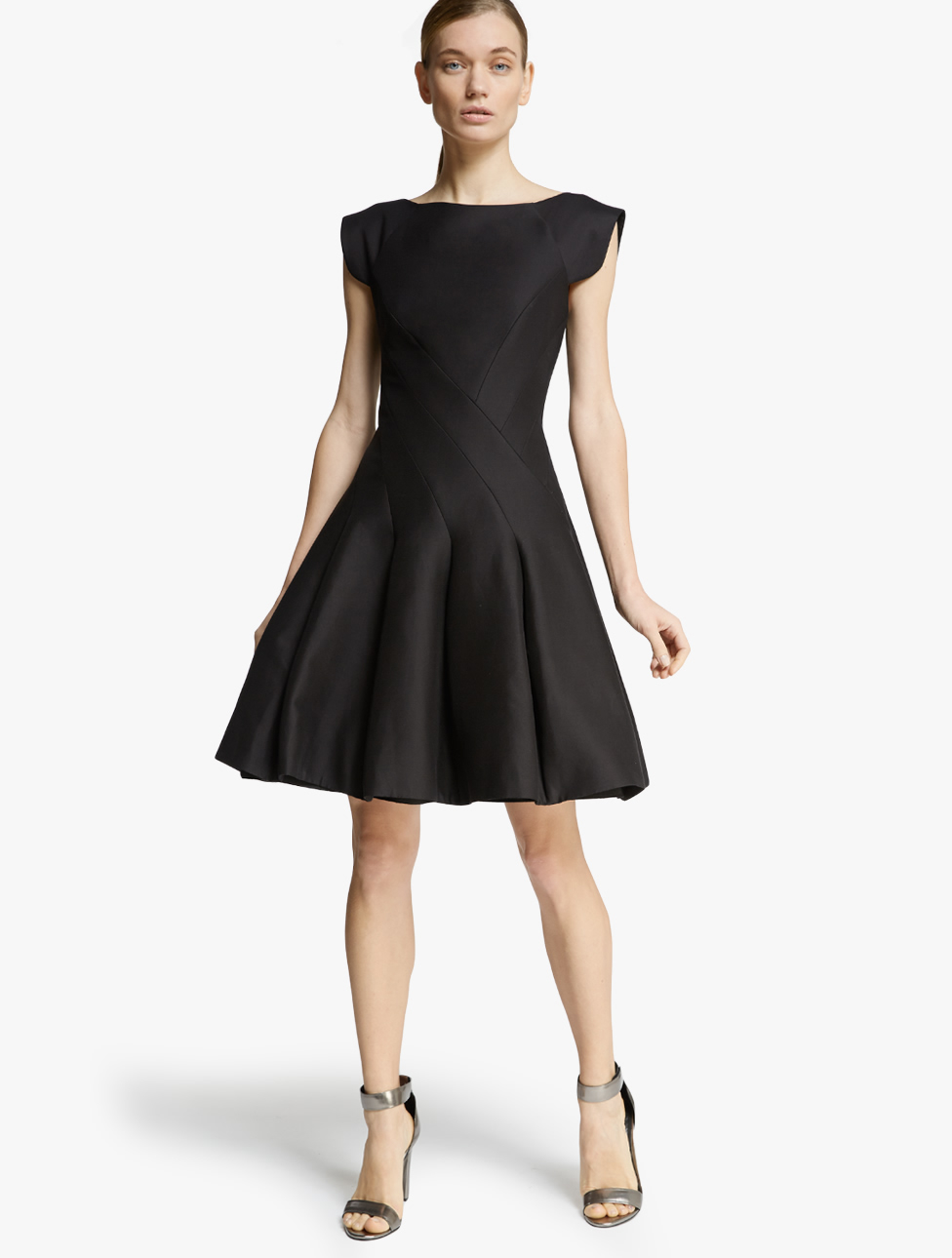 Halston Structured Silk Faille Dress in Black