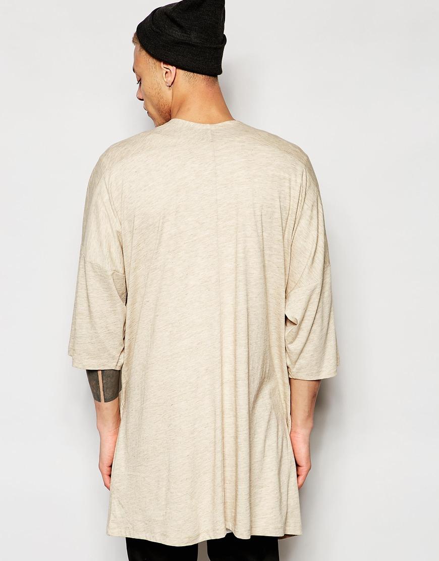 Asos Longline Kimono Cardigan In Beige in Natural for Men | Lyst