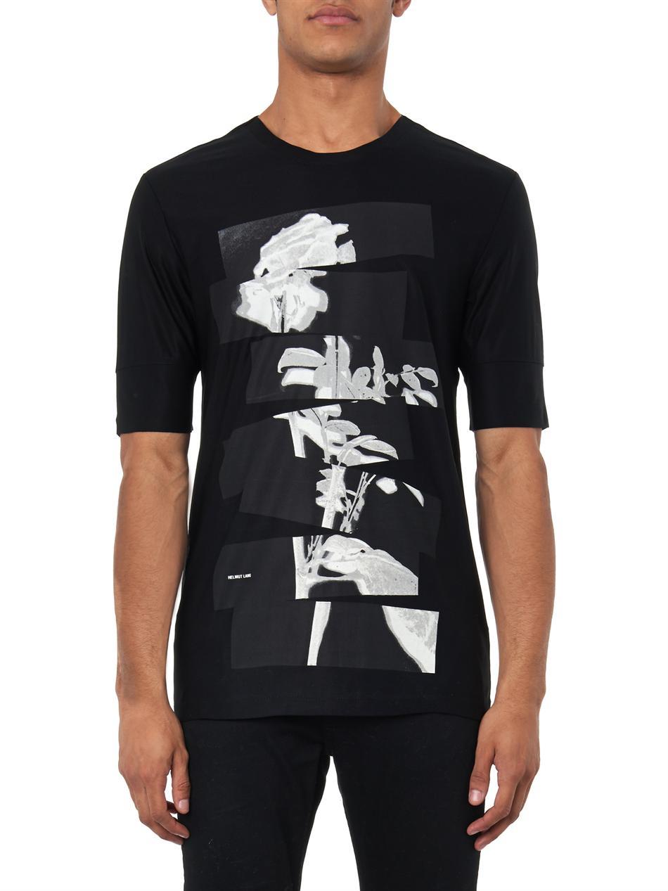 helmut lang segmented rose print t shirt in black for men. Black Bedroom Furniture Sets. Home Design Ideas