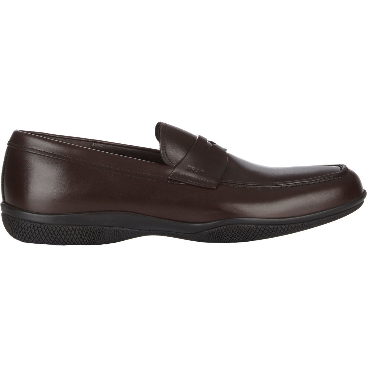 0696355907f ... official store prada apron toe penny loafers in brown for men lyst  f0067 fcc07